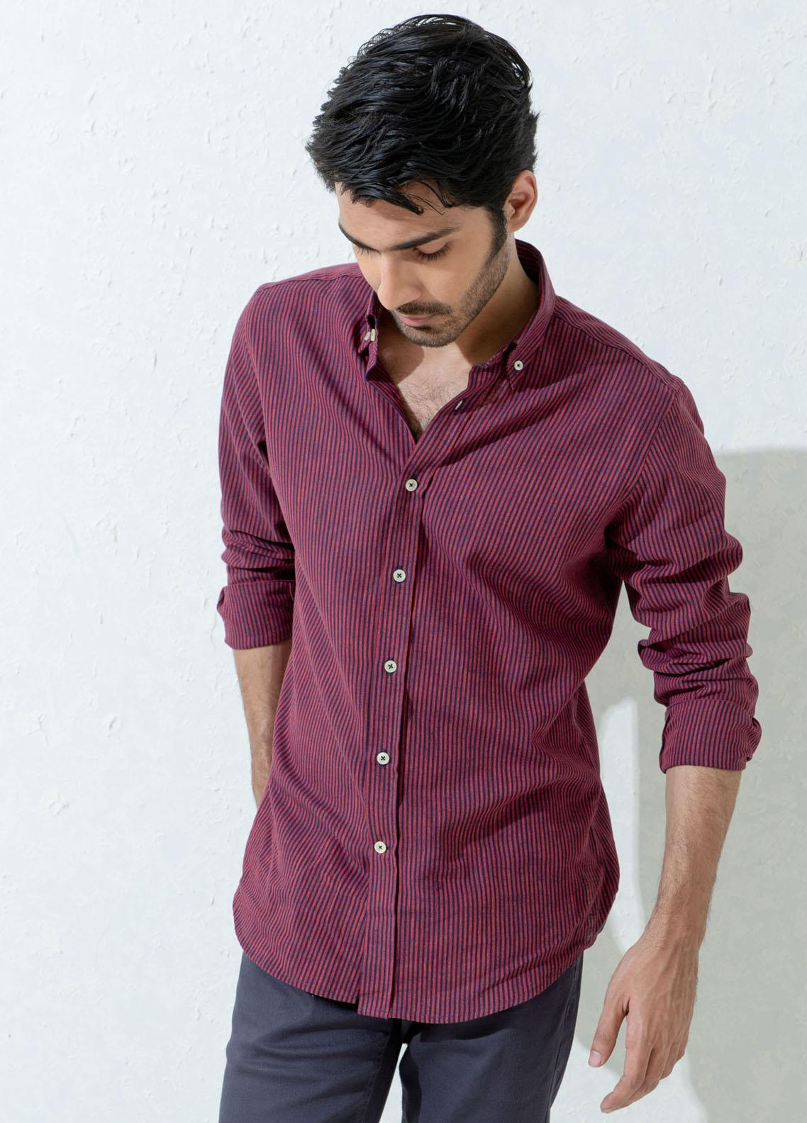 Brumano Cotton Casual Men Shirts -  Maroon & Navy Striped Linen