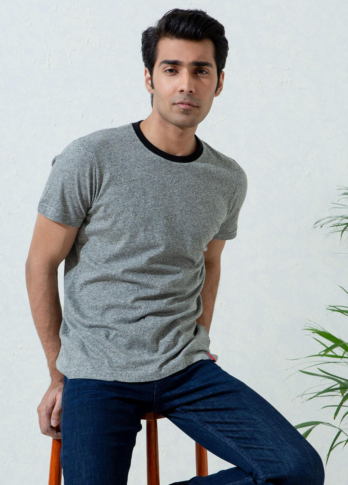 Brumano Cotton Formal T-Shirts for Men -  Grey Marl Crew Neck T-Shirt With Contrasting Rib