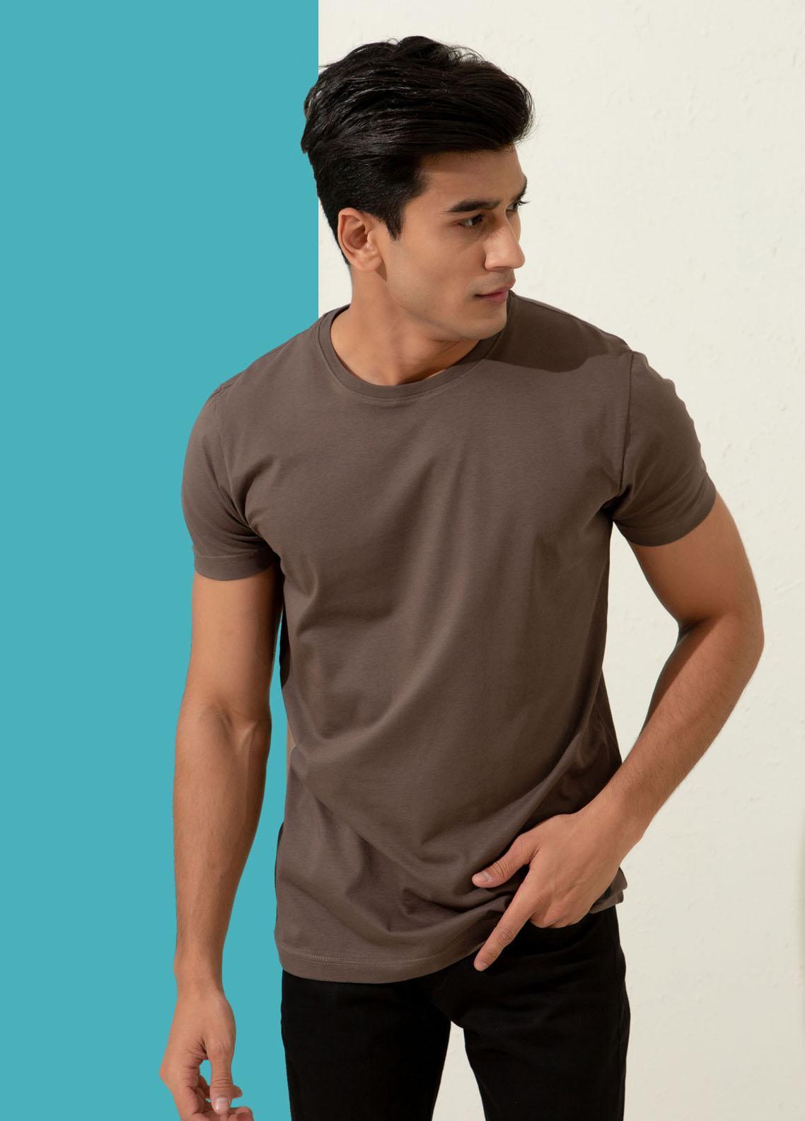 Brumano Cotton Formal T-Shirts for Men -  Basic Brown Crew Neck T-shirt