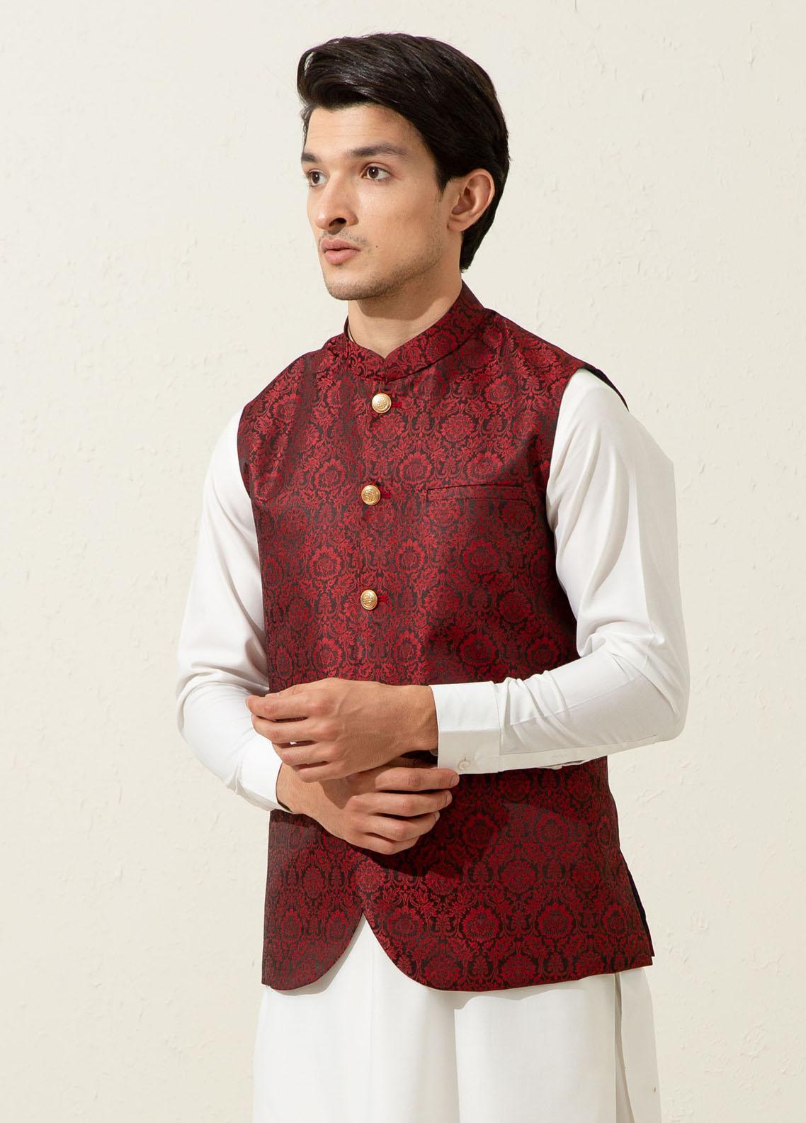Brumano Polyester Formal Men Waistcoat -  Maroon Floral Patterned