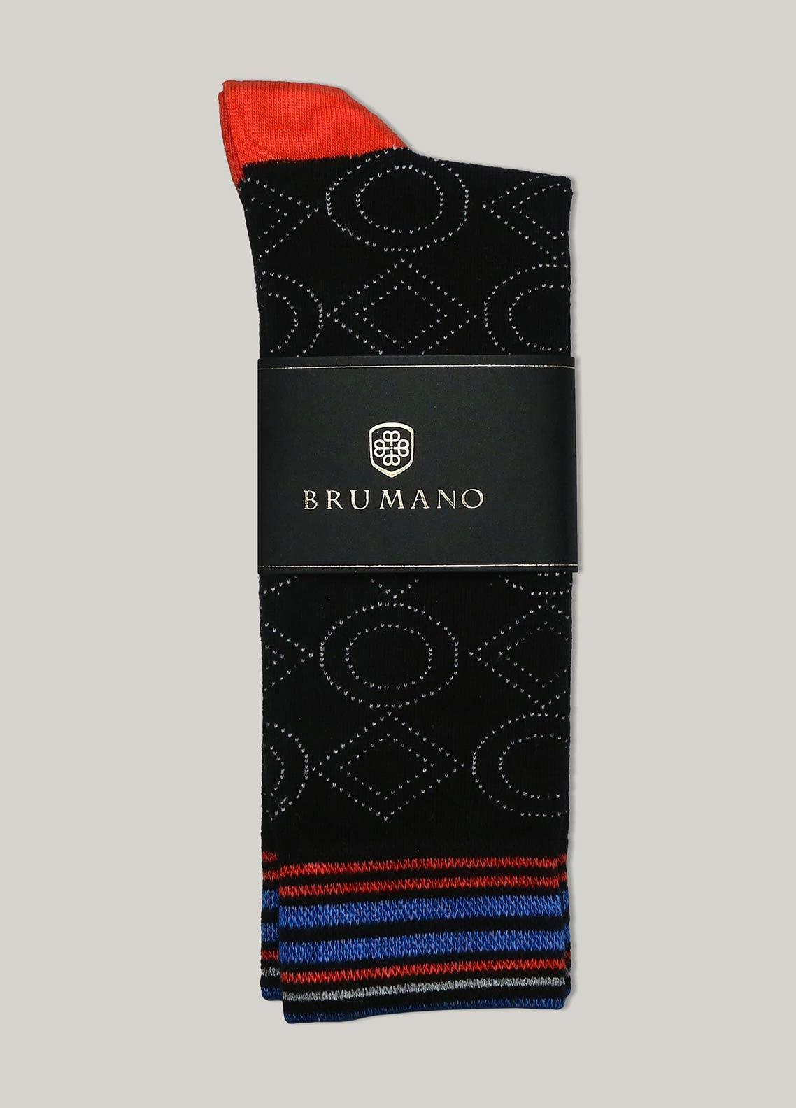 Brumano Cotton Socks BM20CSK Black & Orange Contrasting Cotton Socks
