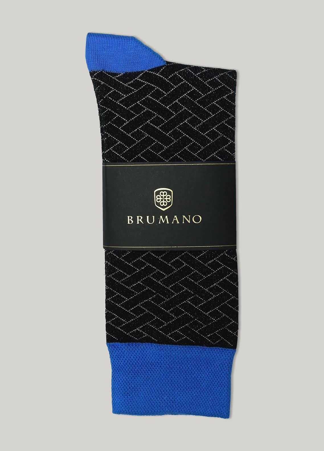 Brumano Cotton Socks BM20CSK Black & Royal Blue Cotton Socks