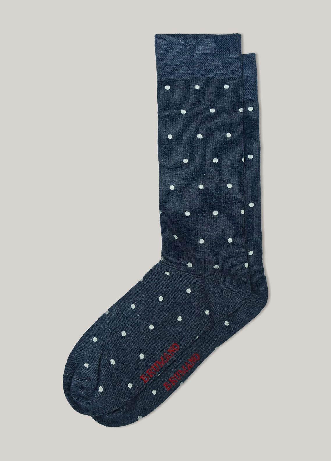 Brumano Cotton Socks BM20CSK Blue Melange Polka Dot Cotton Socks