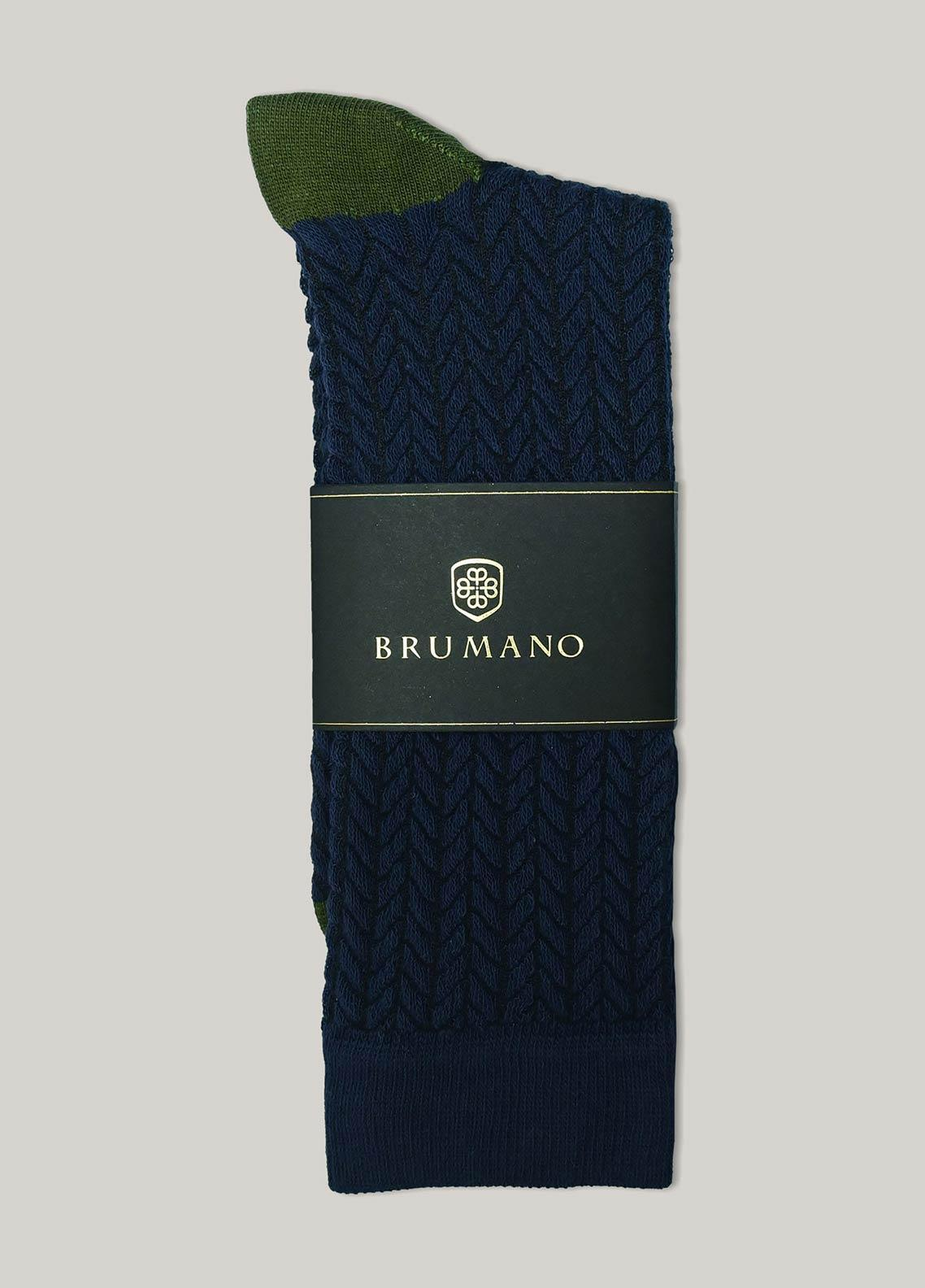 Brumano Cotton Socks BM20CSK Navy Blue Herringbone Cotton Socks