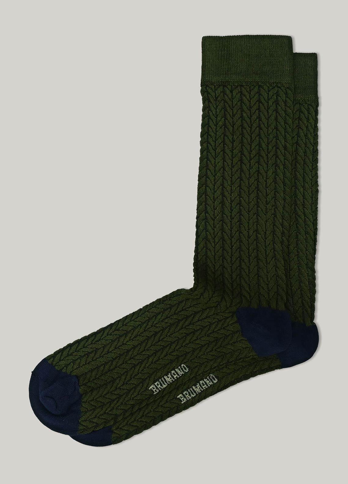 Brumano Cotton Socks BM20CSK Olive Green Herringbone Cotton Socks