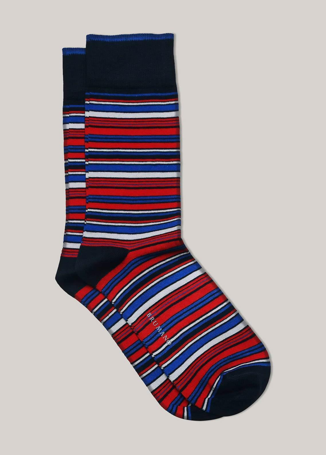 Brumano Cotton Socks BM20CSK Red Multi Color Striped Cotton Socks