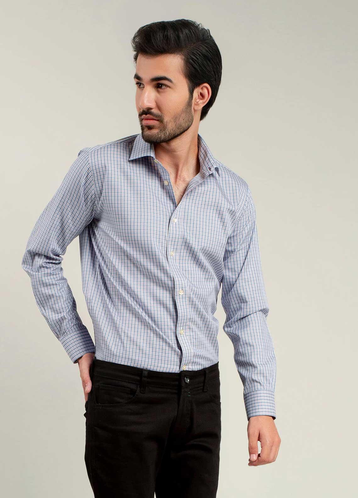 Brumano Cotton Formal Shirts for Men -  BM20LS Blue & Purple Formal Shirt
