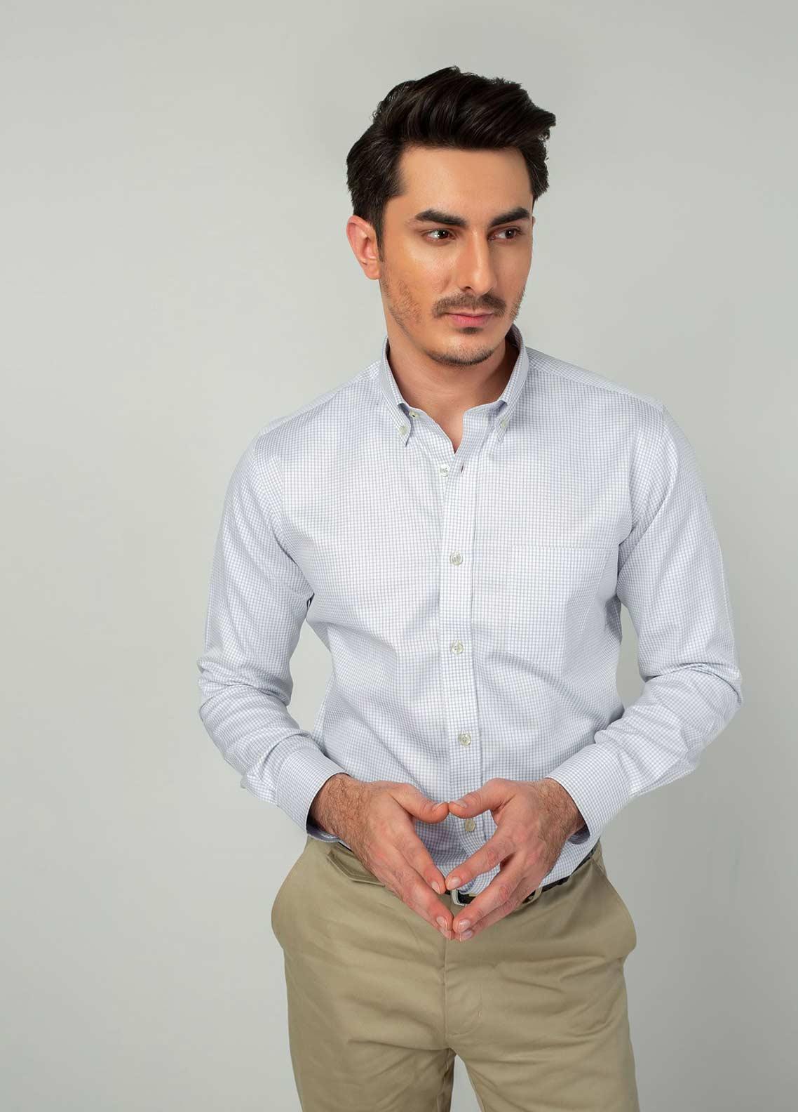 Brumano Cotton Formal Men Shirts -  BM20LS Blue Gingham Button Down Shirt