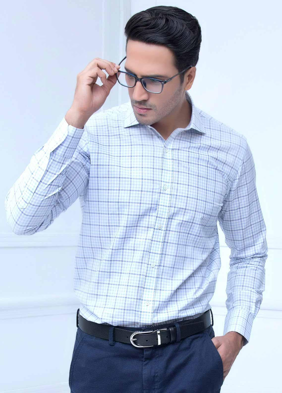 Brumano Cotton Formal Shirts for Men -  BM20LS Blue Linen Checkered Shirt