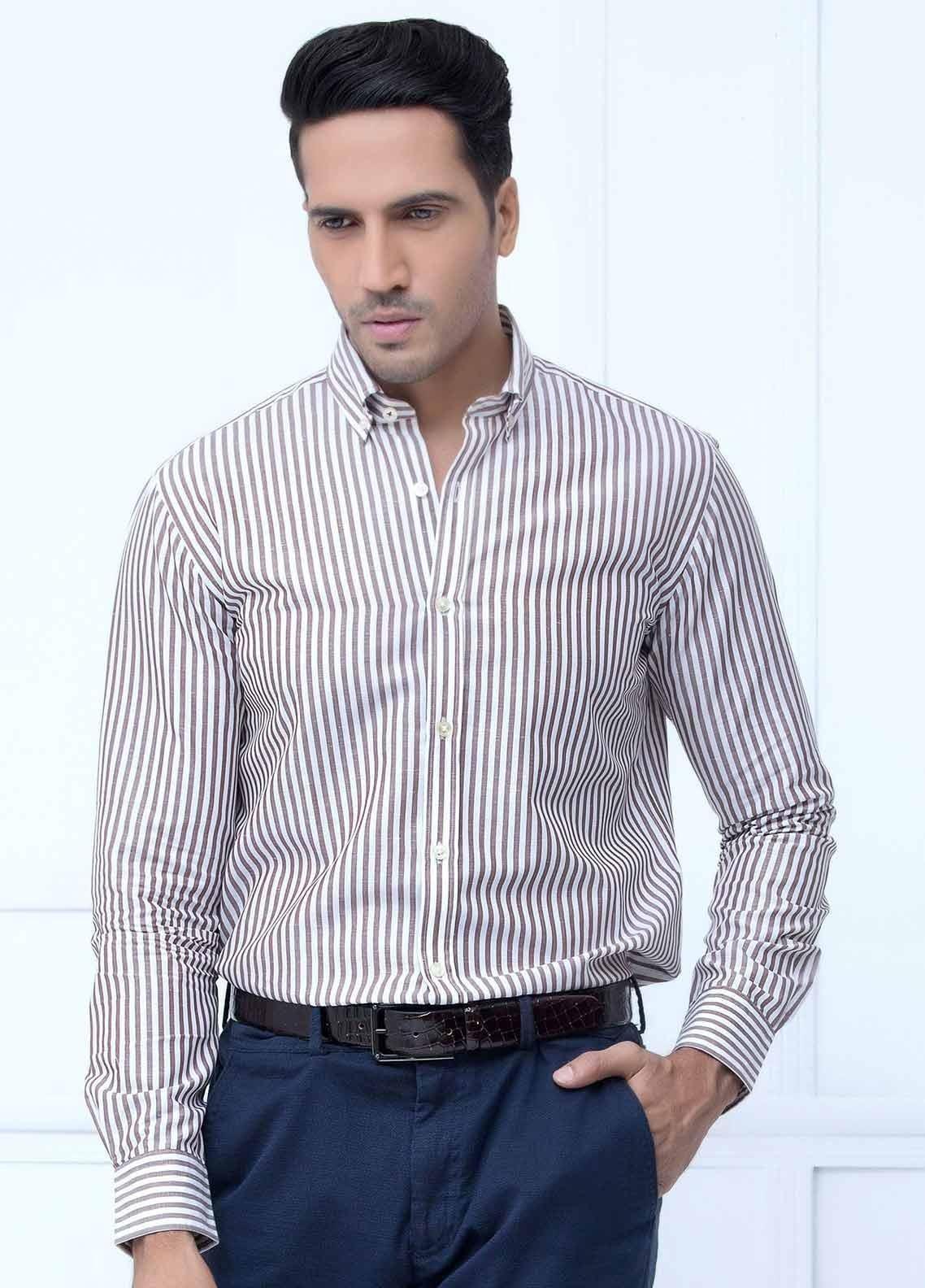 Brumano Cotton Formal Men Shirts -  BM20LS Brown Linen Bold Striped Shirt