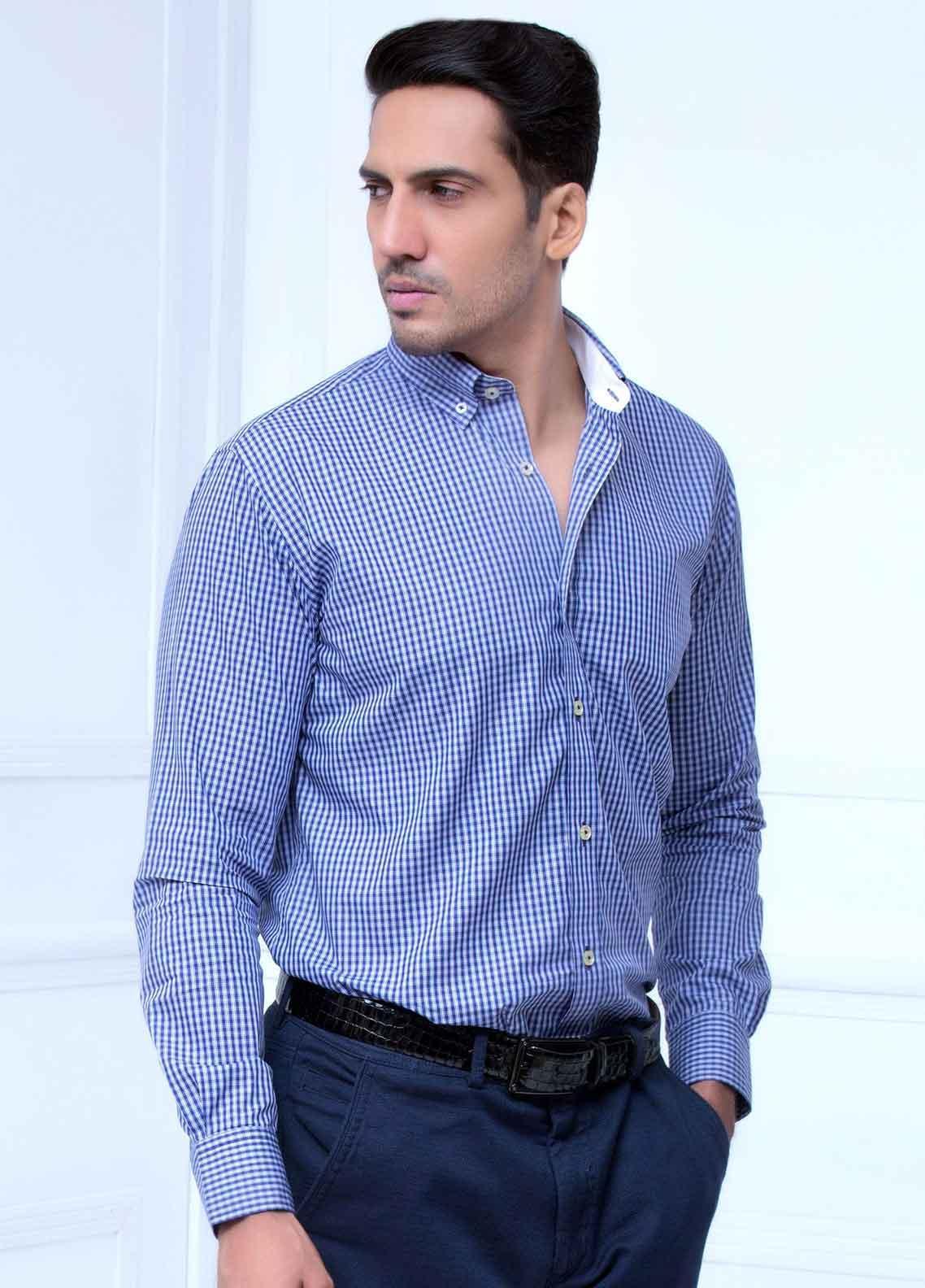 Brumano Cotton Formal Men Shirts -  BM20LS Fine Blue Check Shirt