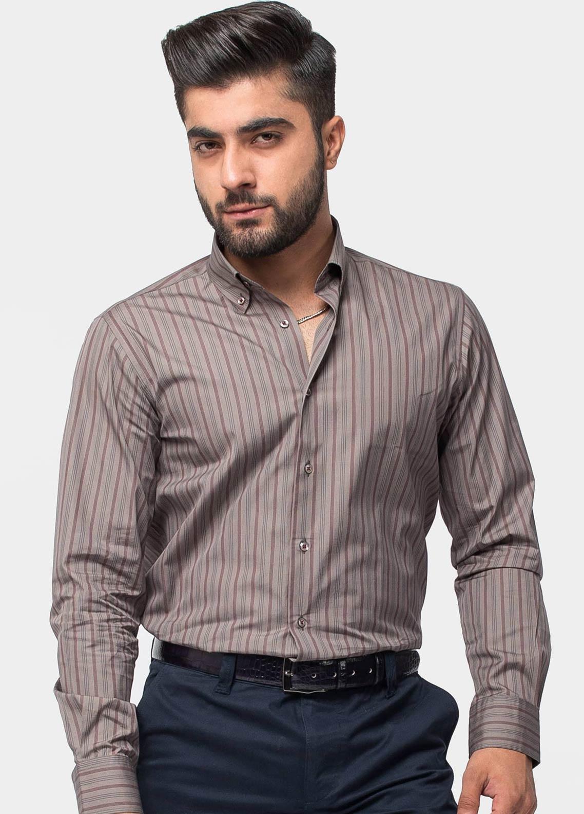 Brumano Cotton Formal Men Shirts -  BM20LS Umber Brown Striped Shirt