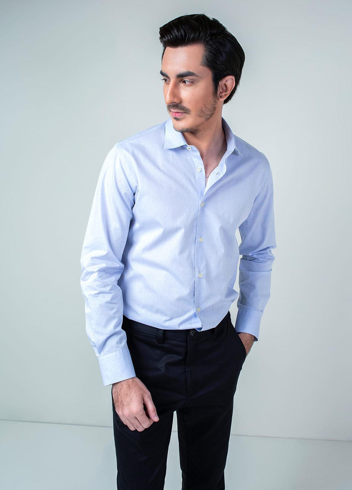 Brumano Cotton Formal Men Shirts -  BM20SH Light Blue Dobby Shirt
