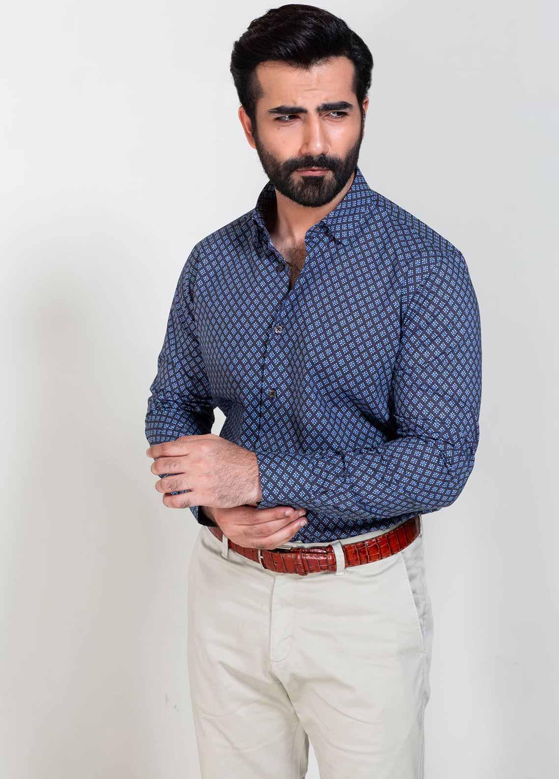 Brumano Cotton Formal Shirts for Men -  BM20SH Navy & Purple Printed Shirt