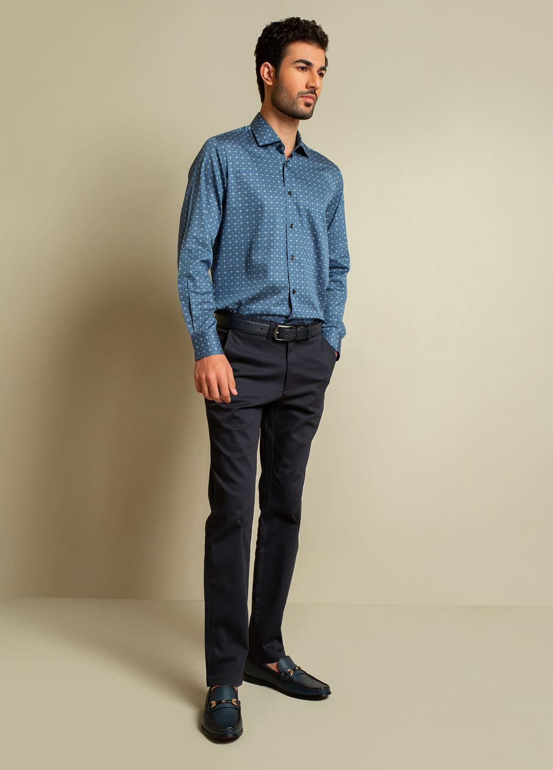 Brumano Cotton Formal Shirts for Men -  BM20SH Navy Blue Geometric Printed Shirt