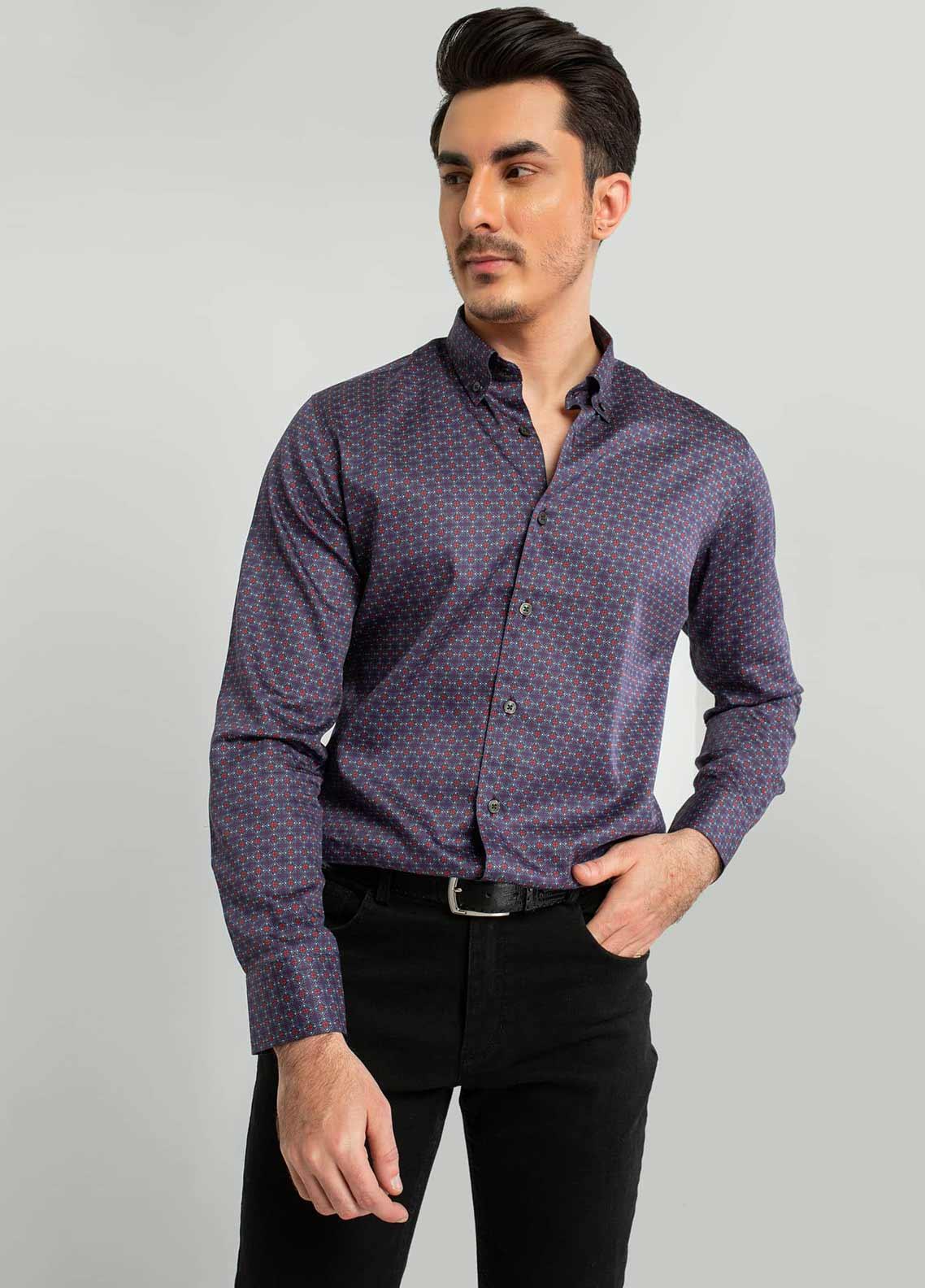 Brumano Cotton Formal Shirts for Men -  BM20SH Purple & Red Printed Shirt