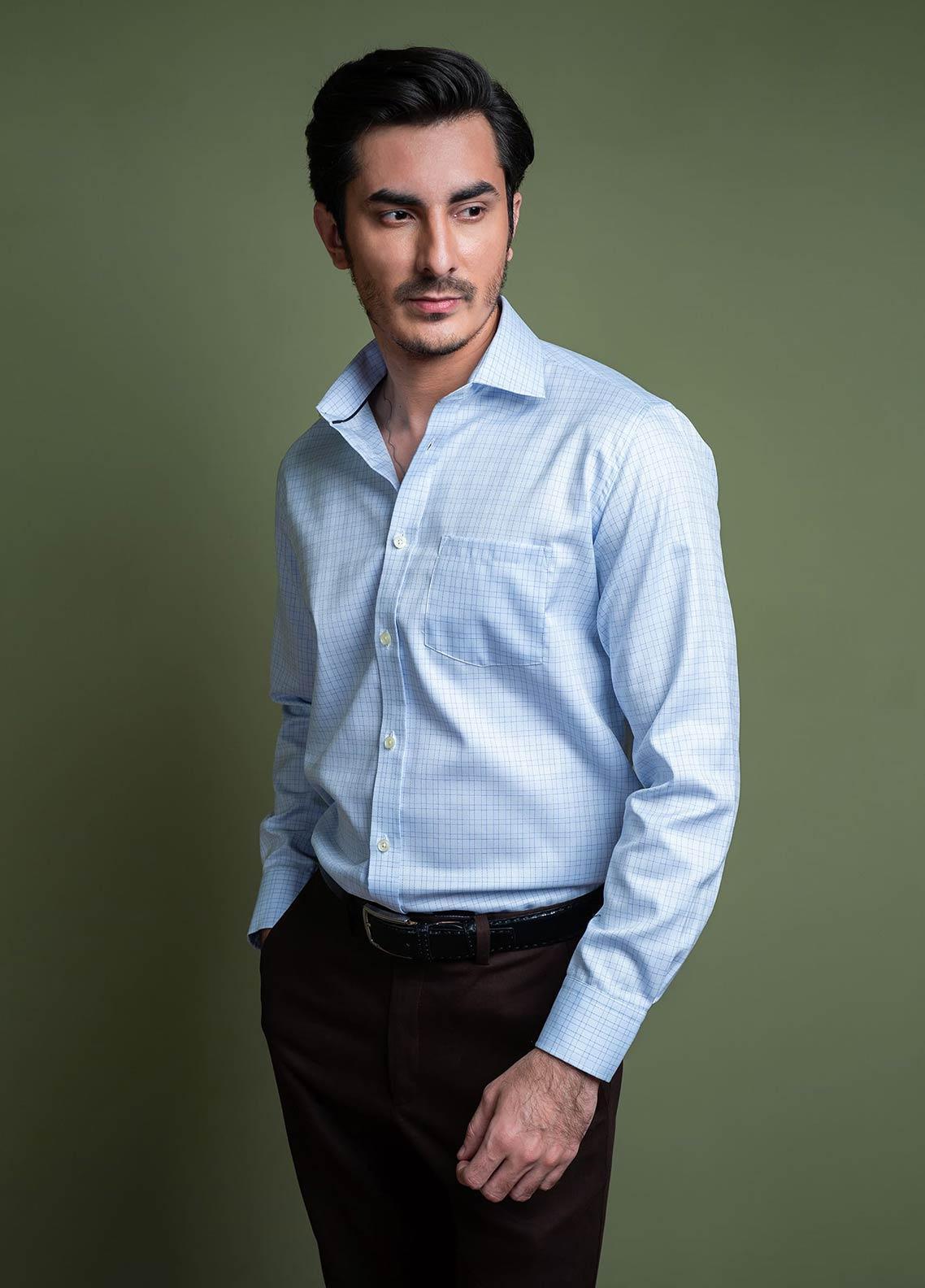 Brumano Cotton Formal Shirts for Men -  BM20SH Sky Blue Formal Check Shirt With Cutaway Collar