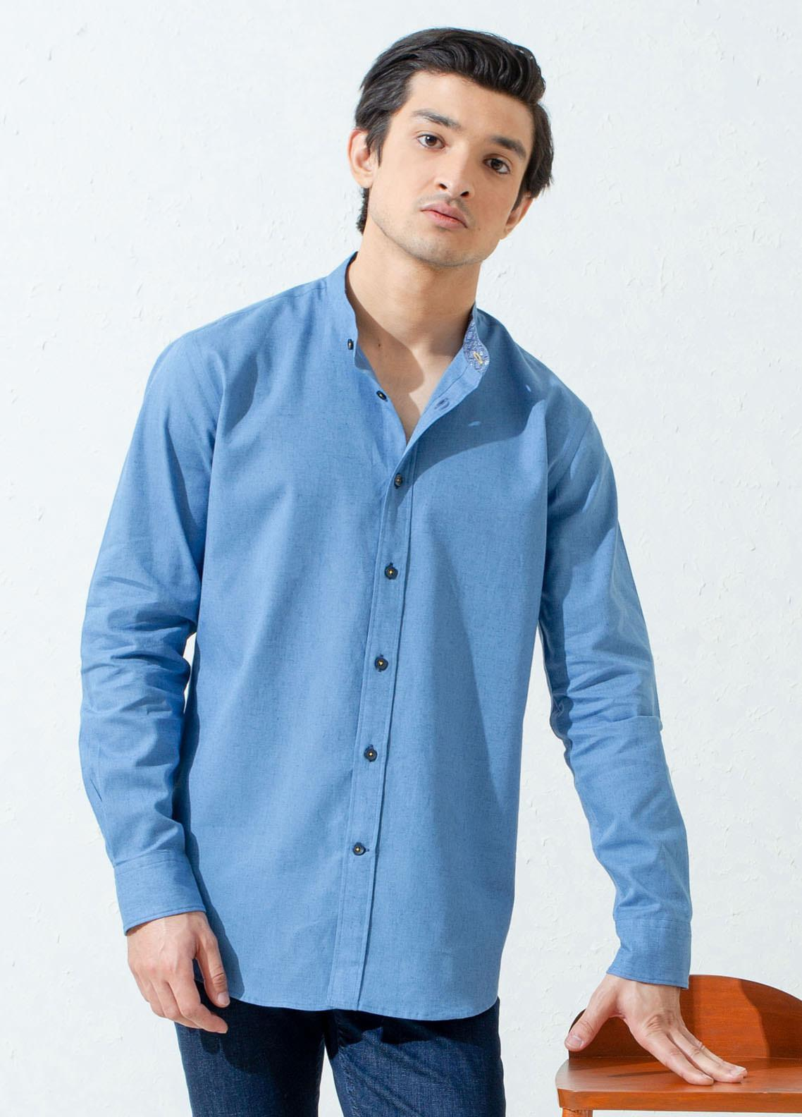 Brumano Cotton Casual Shirts for Men -  BM21SH Blue Linen Mao