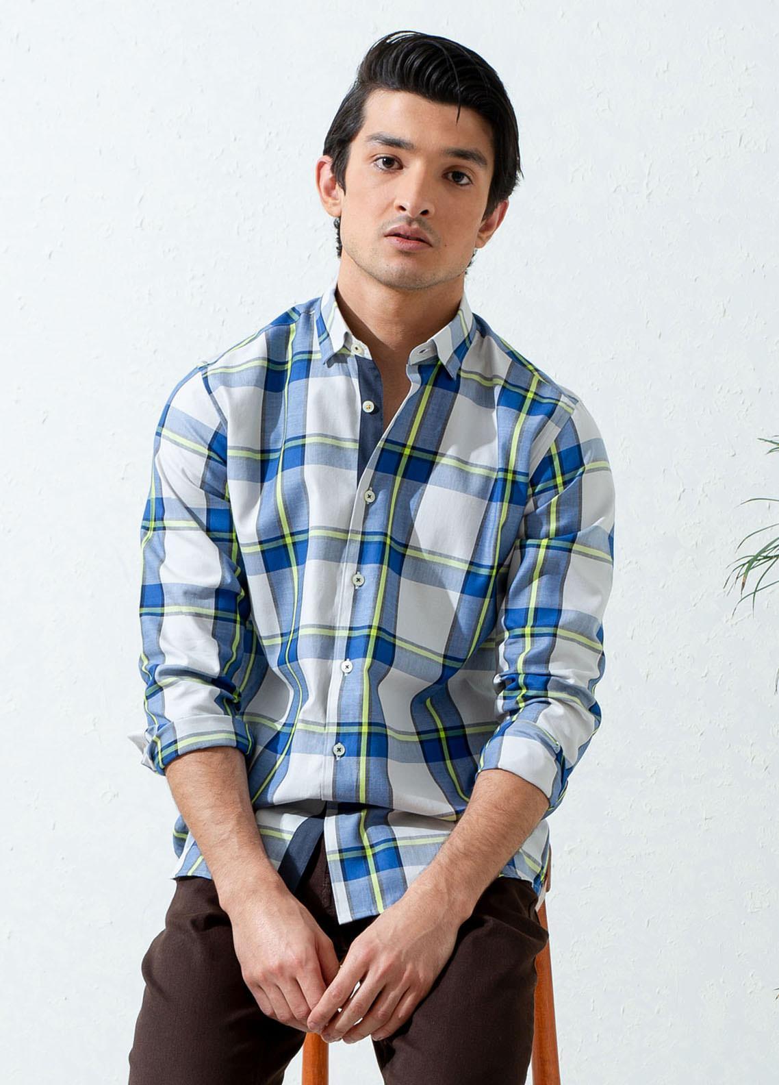 Brumano Cotton Casual Men Shirts -  BM21SH Blue & Green Bold Checkered