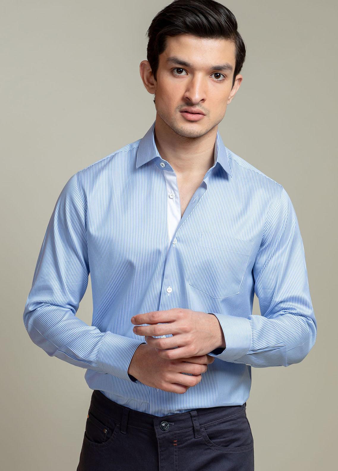 Brumano Cotton Casual Shirts for Men -  BM21SH Blue Striped