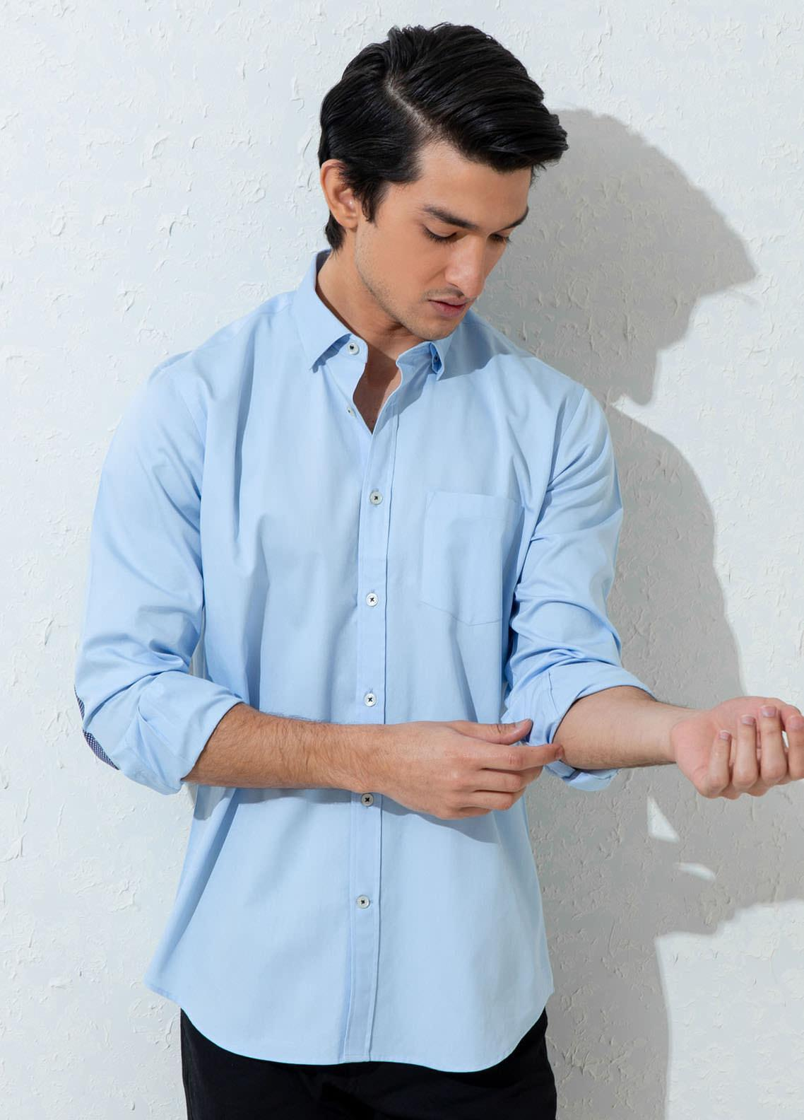 Brumano Cotton Casual Shirts for Men -  BM21SH Blue Twill Elbow Patch
