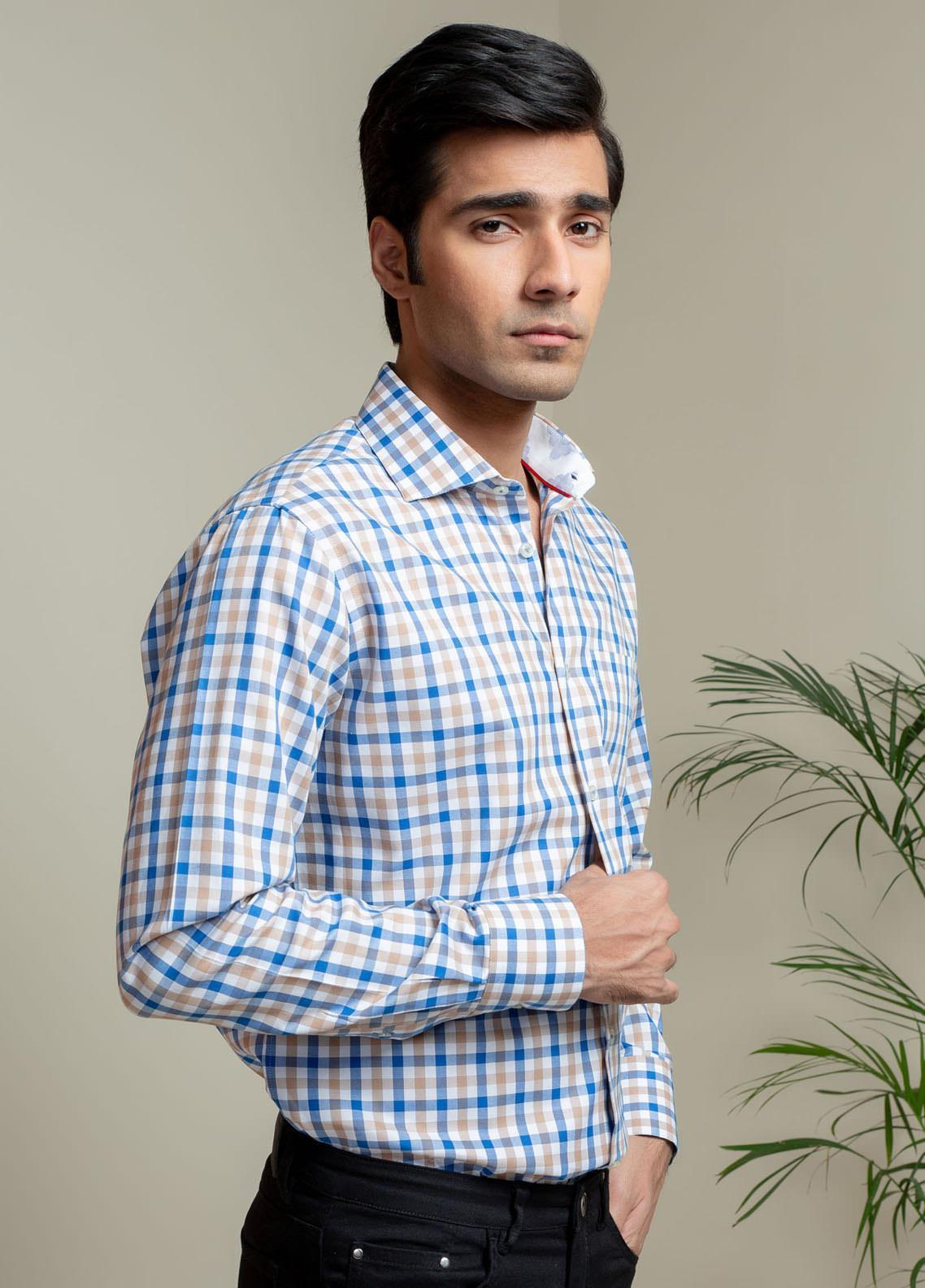 Brumano Cotton Casual Shirts for Men - BM21SH Brown & Blue Gingham Check