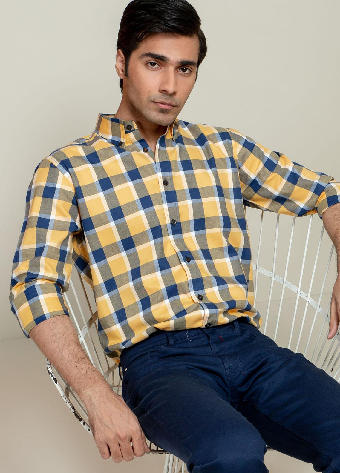 Brumano Cotton Casual Men Shirts - BM21SH Yellow Flannel Checkered