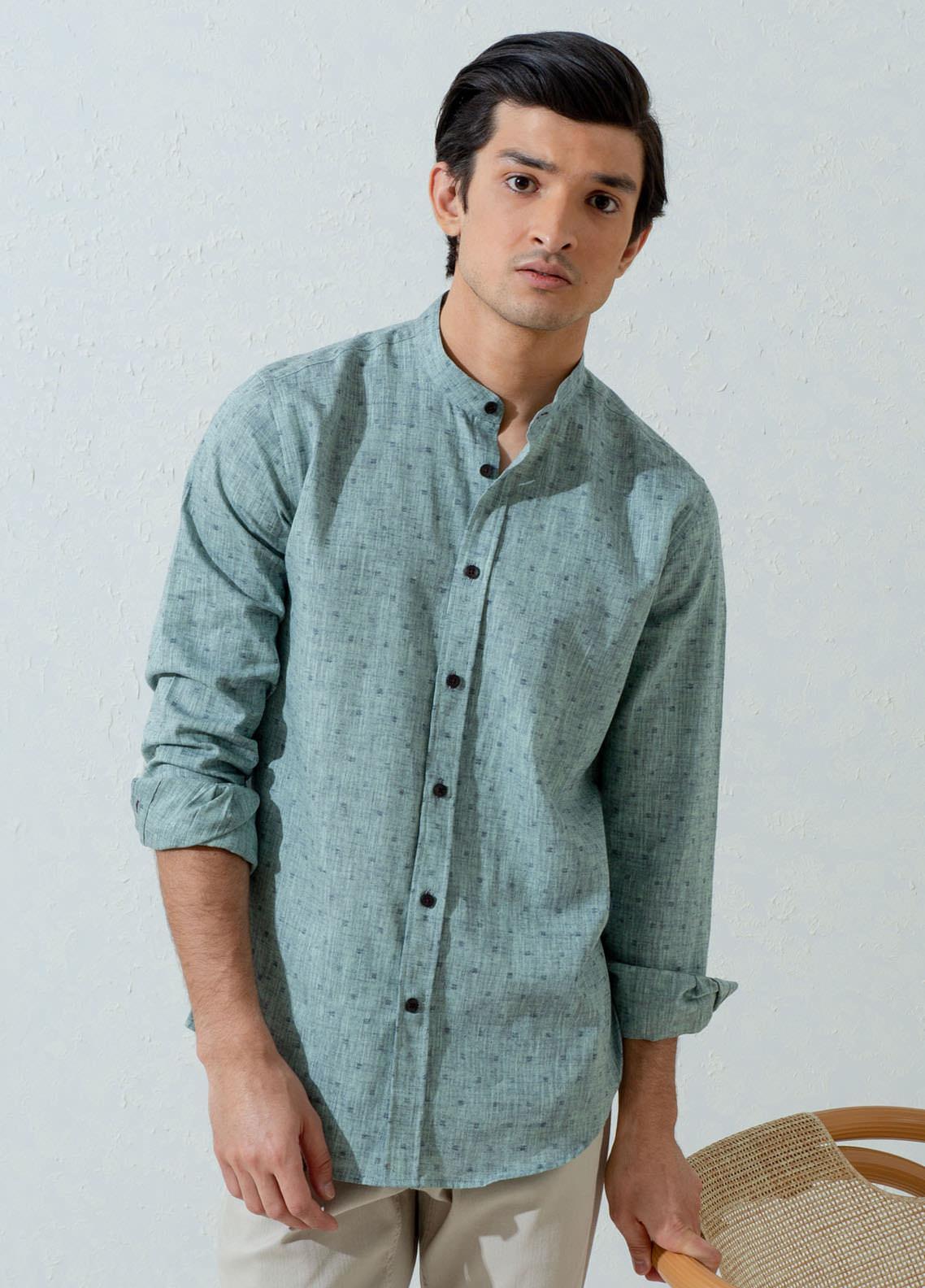 Brumano Cotton Casual Shirts for Men -  BM21SH Green Linen Mao