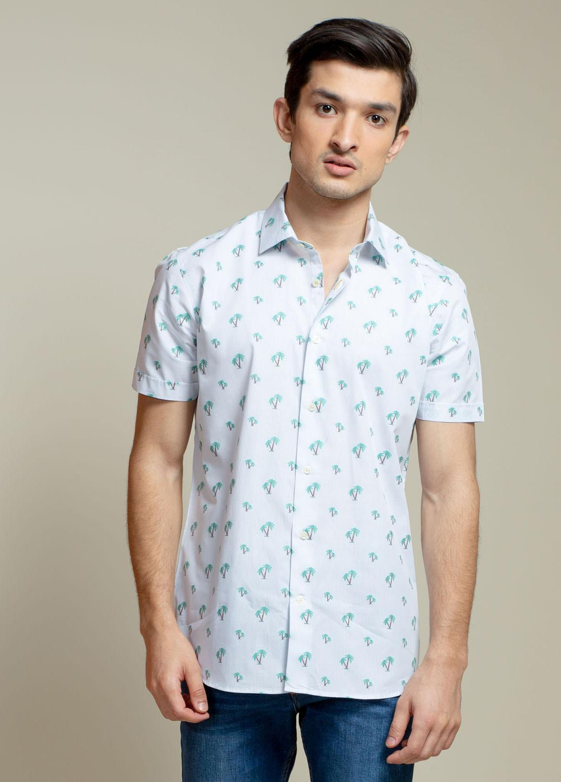 Brumano Cotton Casual Half Sleeves Shirts for Men -  BM21SH Light Blue Tree Patterned