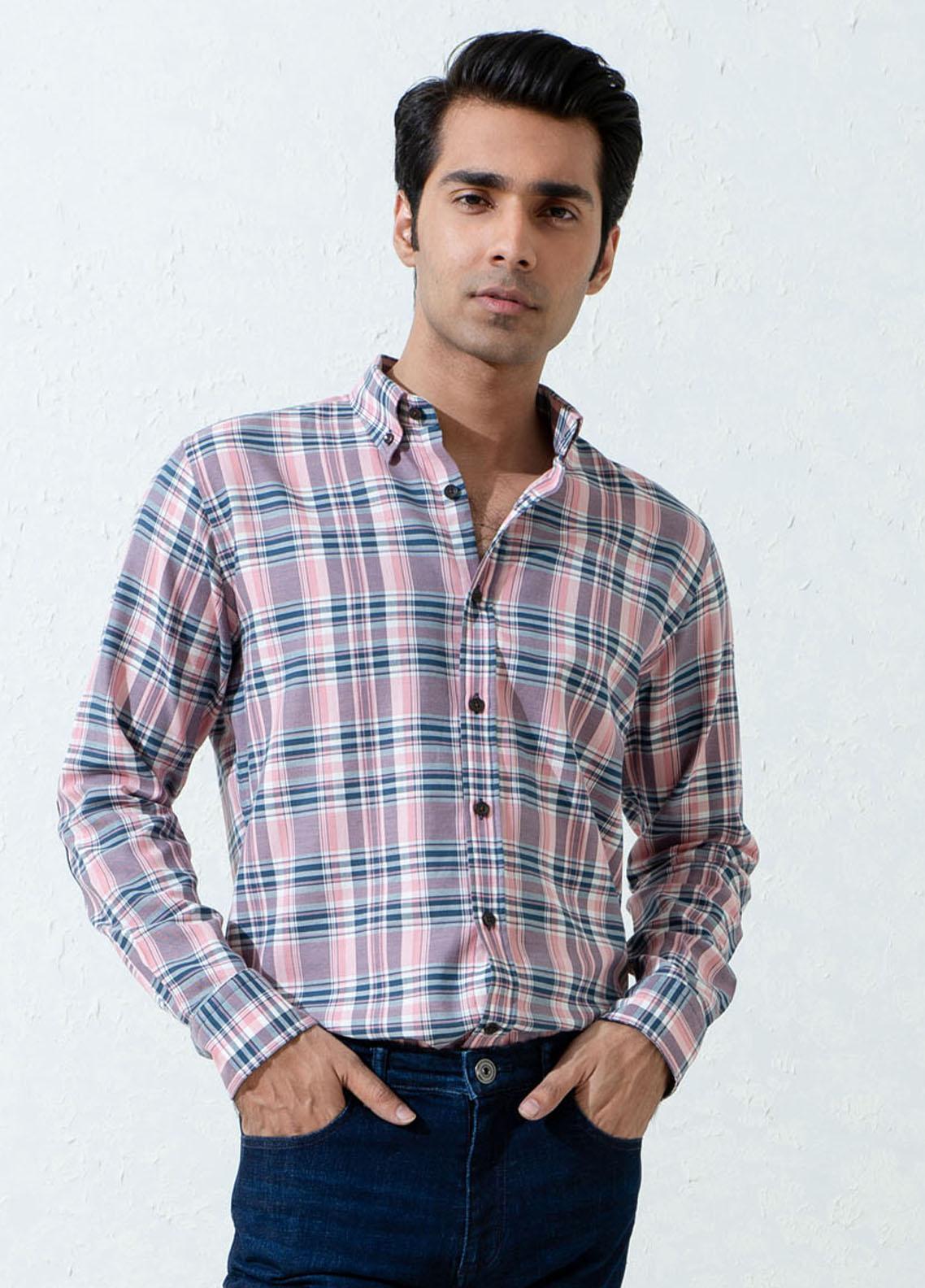Brumano Cotton Full Sleeves Casual Men Shirts -  BM21SH Pink & Navy Checkered Flannel