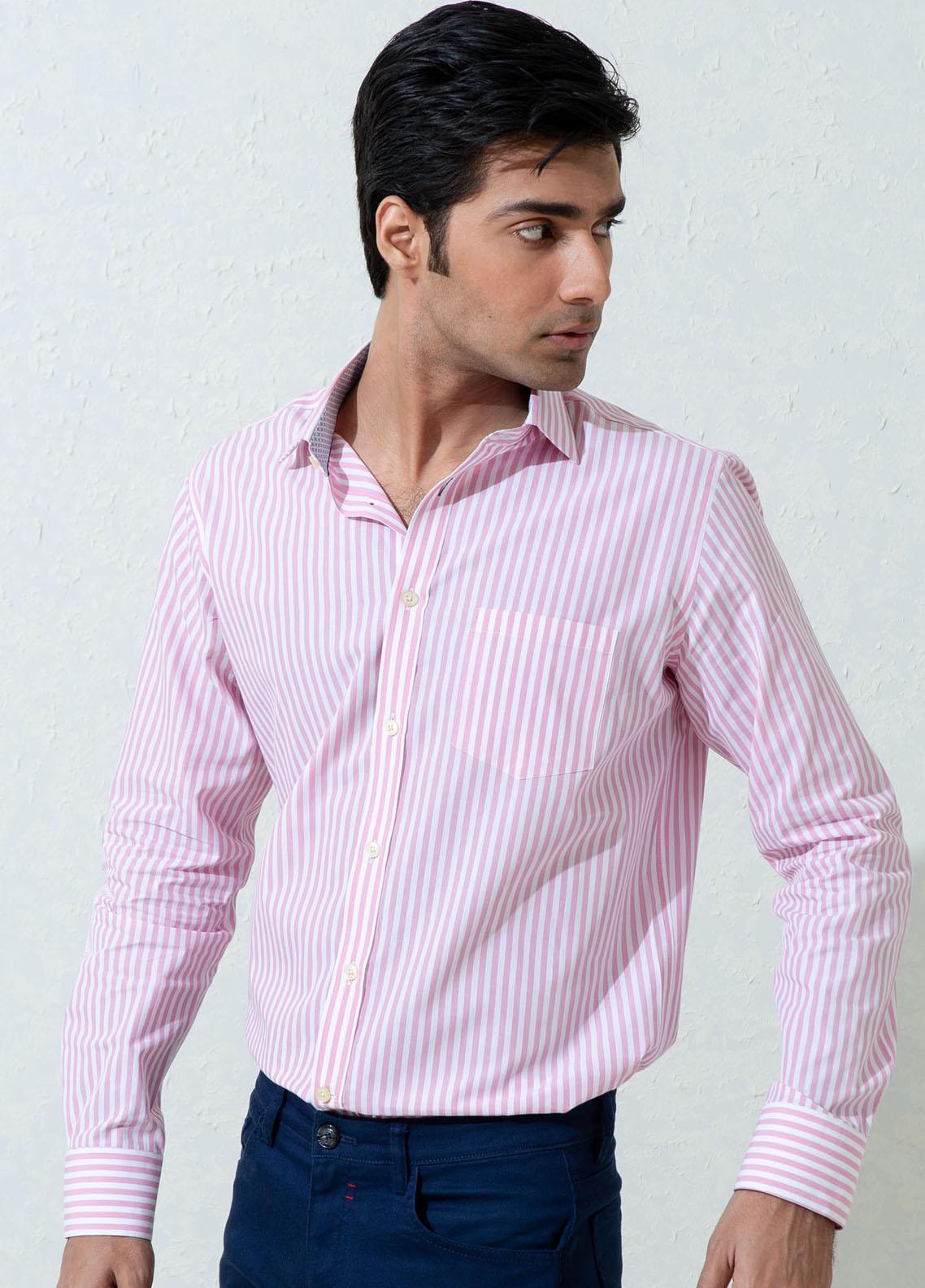Brumano Cotton Full Sleeves Casual Shirts for Men -  BM21SH Pink Bengal