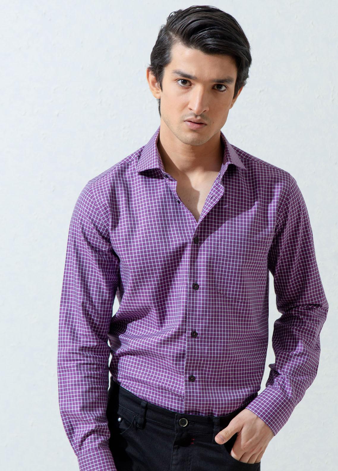 Brumano Cotton Casual Men Shirts -  BM21SH Purple Gingham