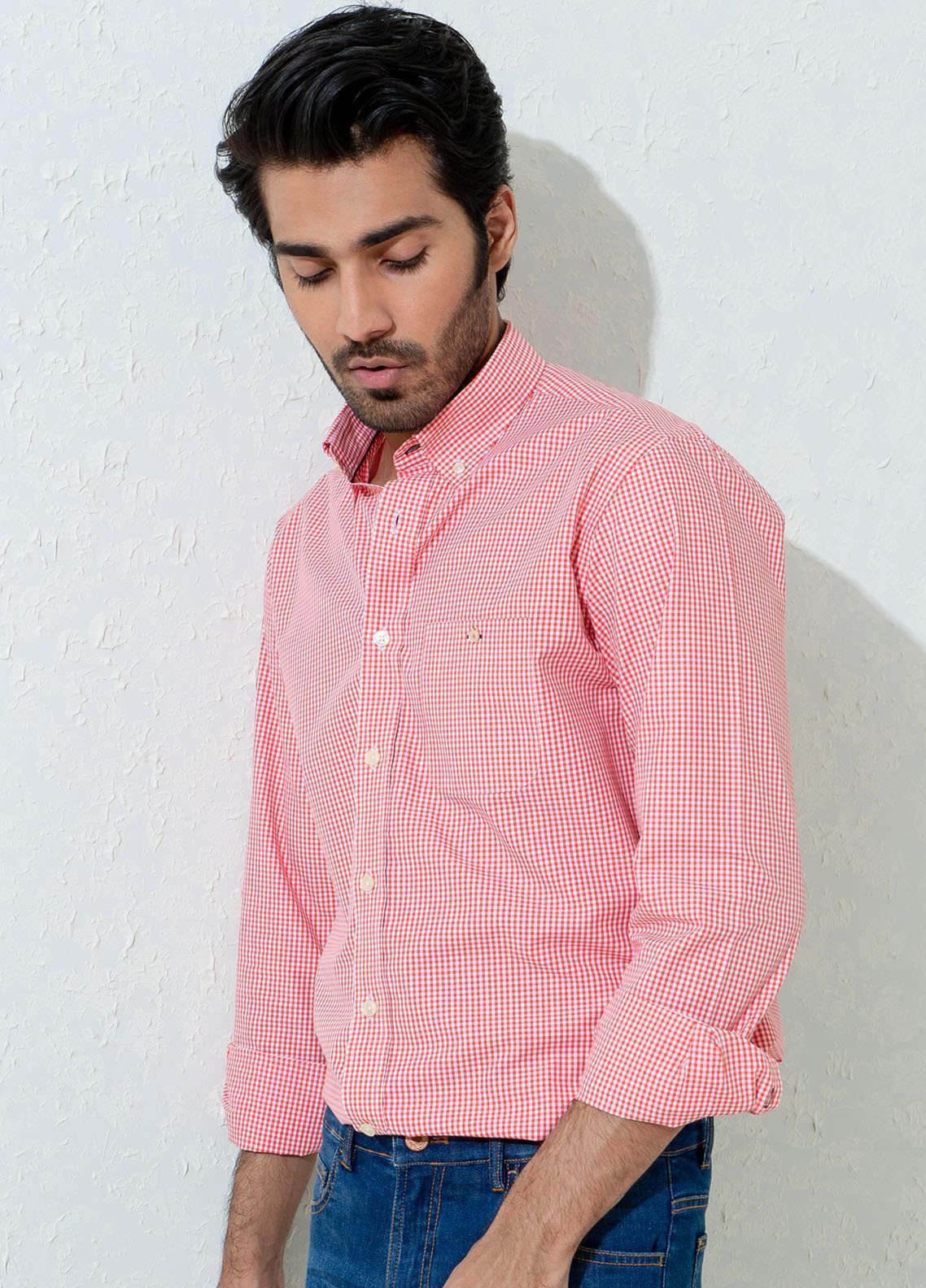 Brumano Cotton Casual Men Shirts -  BM21SH Red Micro Gingham