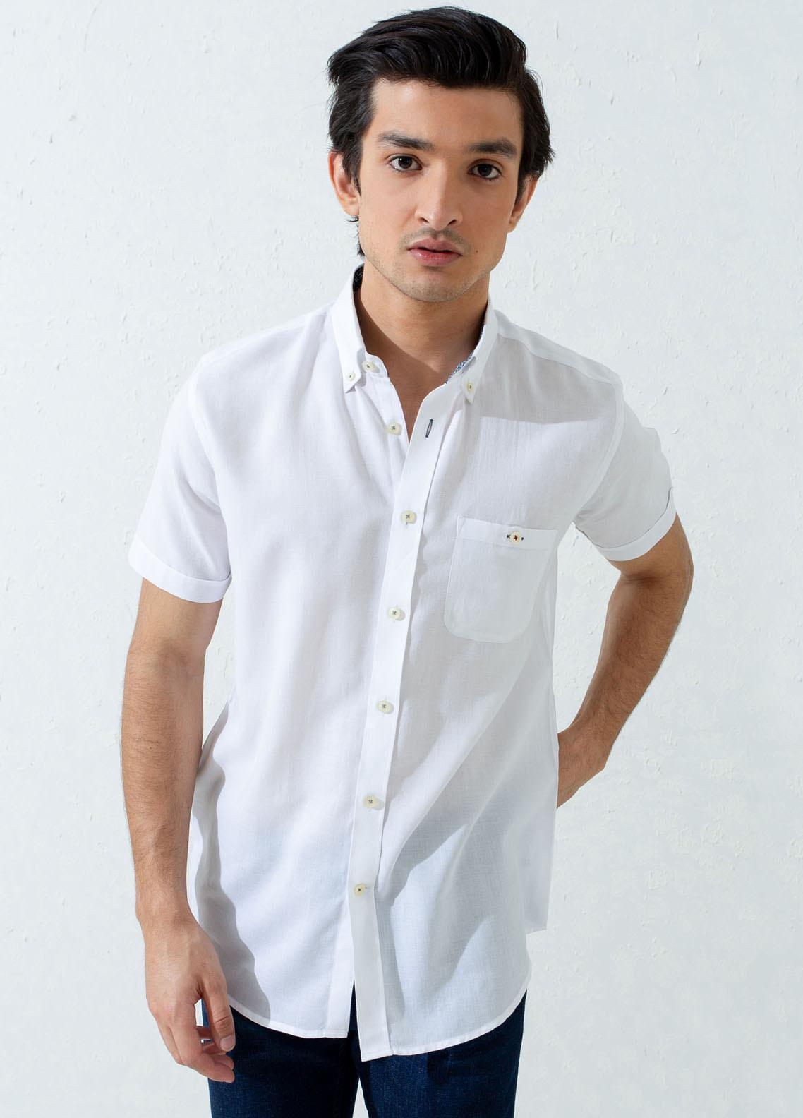 Brumano Cotton Casual Half Sleeves Men Shirts -  BM21SH Super Light White