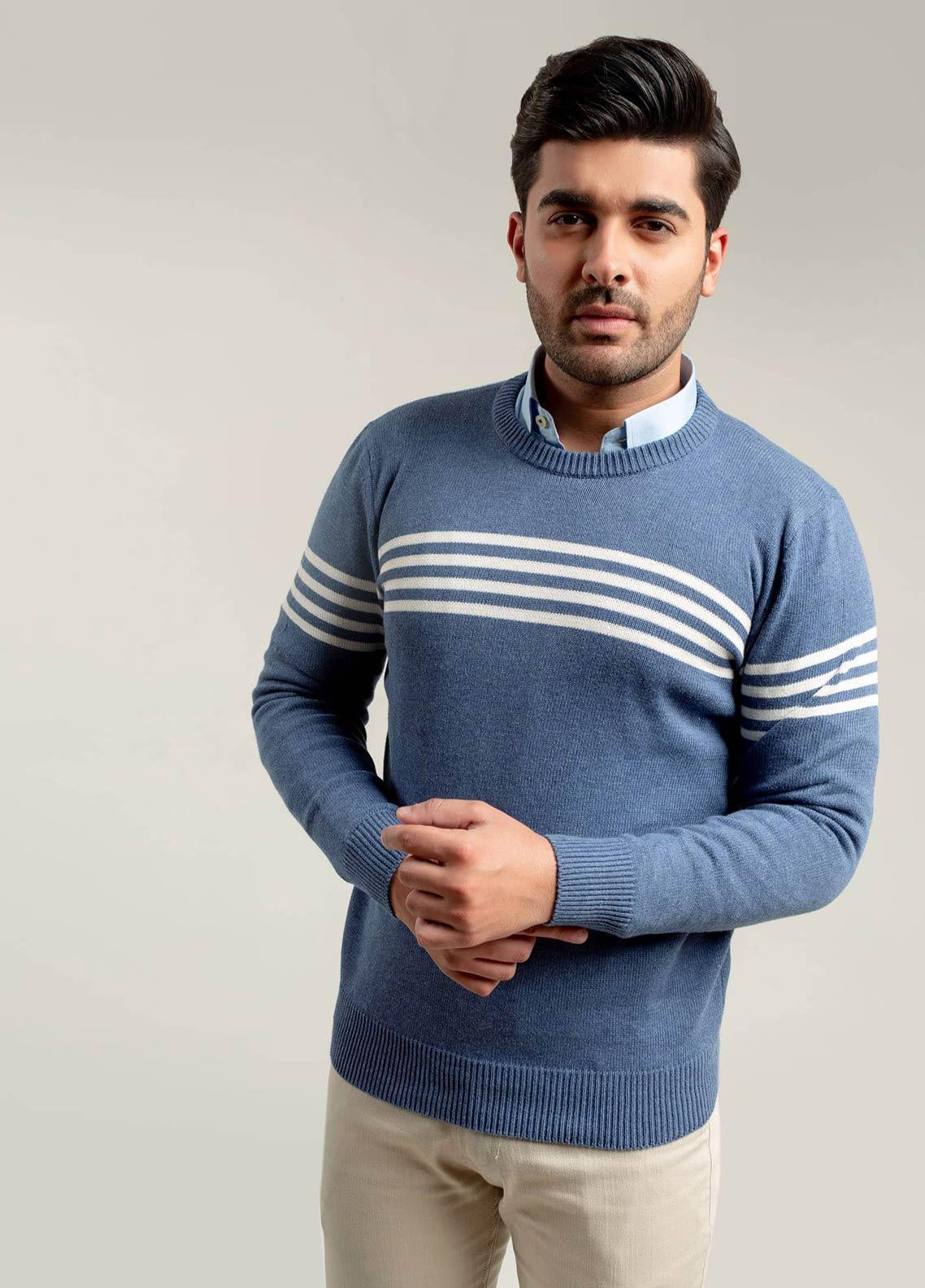 Brumano Cotton Full Sleeves Sweaters for Men -  BM20WS Blue & White Striped Crew Neck Jumper