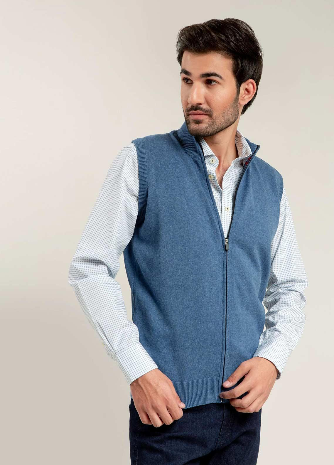 Brumano Cotton Sleeveless Zipper Sweaters for Men -  BM20WS Blue Light Sleeveless Zipper