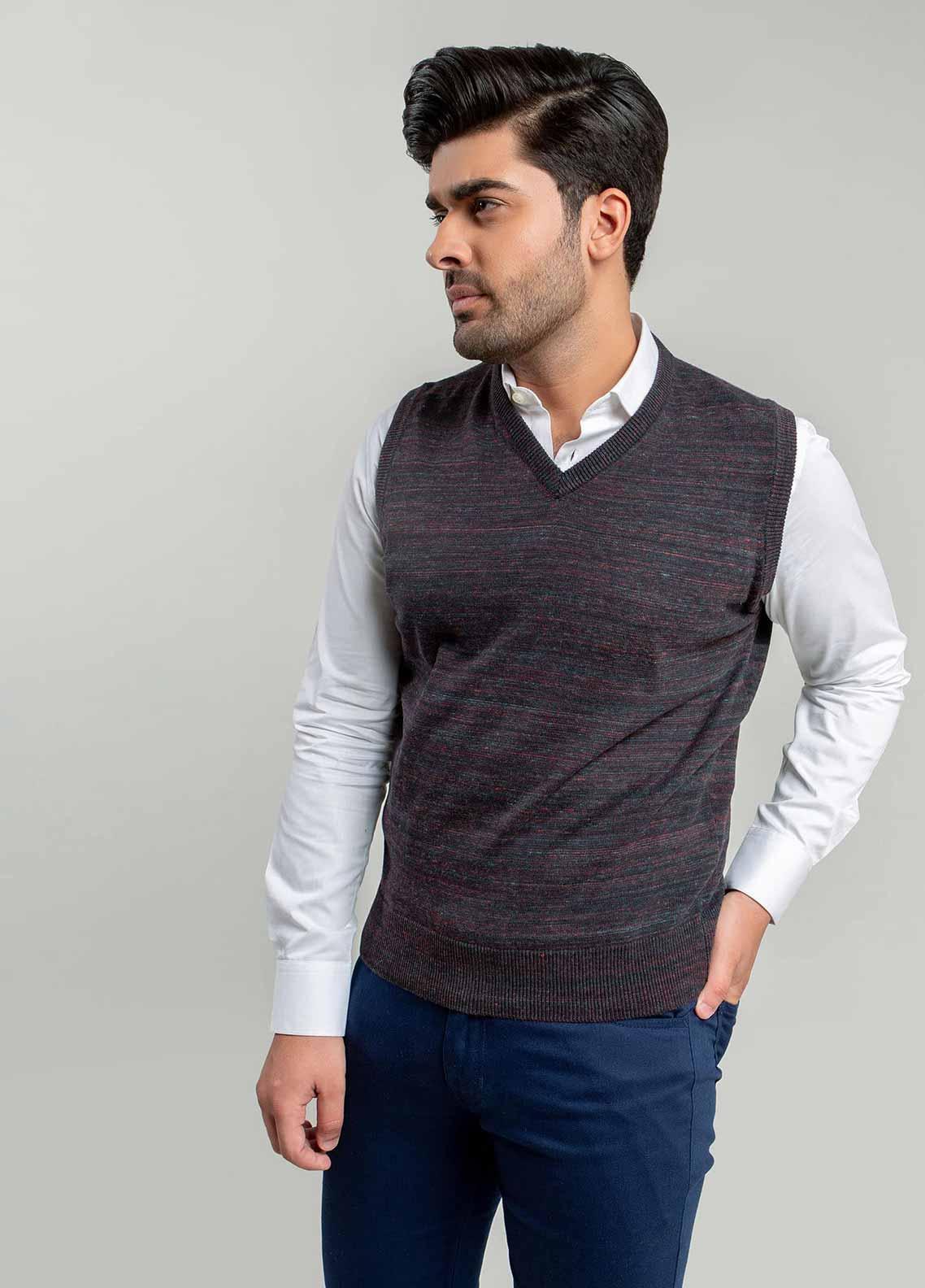Brumano Cotton Sleeveless Sweaters for Men -  BM20WS Charcoal Patterned Sleeveless V-Neck Sweater