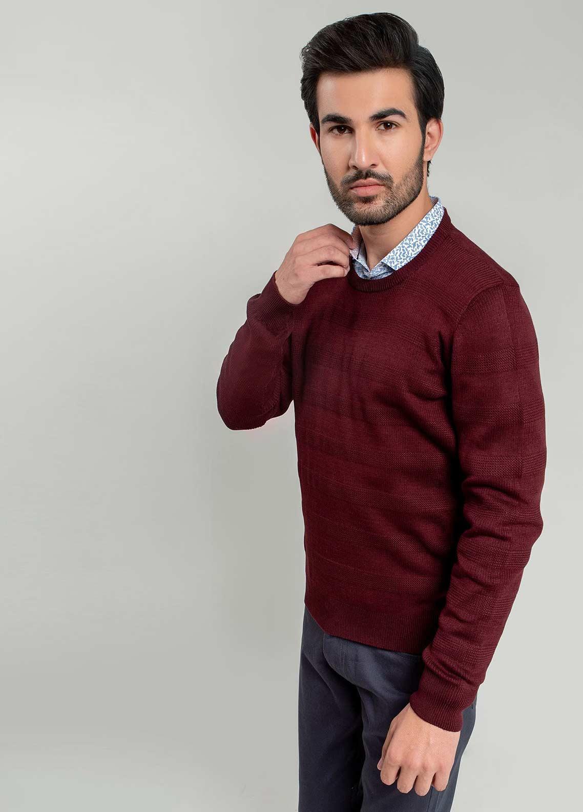 Brumano Cotton Full Sleeves Men Sweaters -  BM20WS Dark Maroon Textured Crew Neck Sweater