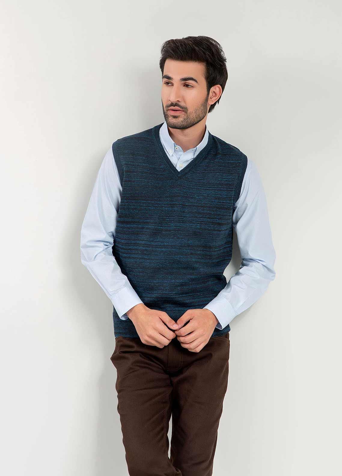 Brumano Cotton Sleeveless Men Sweaters -  BM20WS Navy Blue Patterned Sleeveless V-Neck Sweater