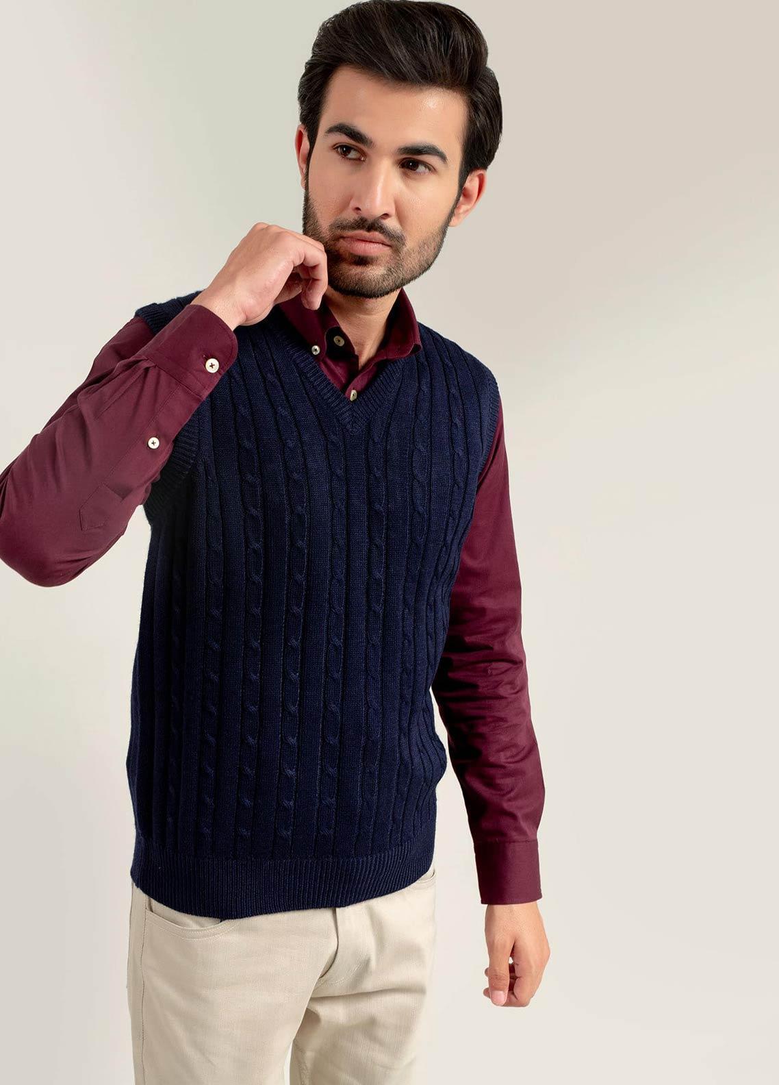 Brumano Acrylic Sleeveless Men Sweaters -  BM20WS Navy Blue Sleeveless Cable Knitted Sweater