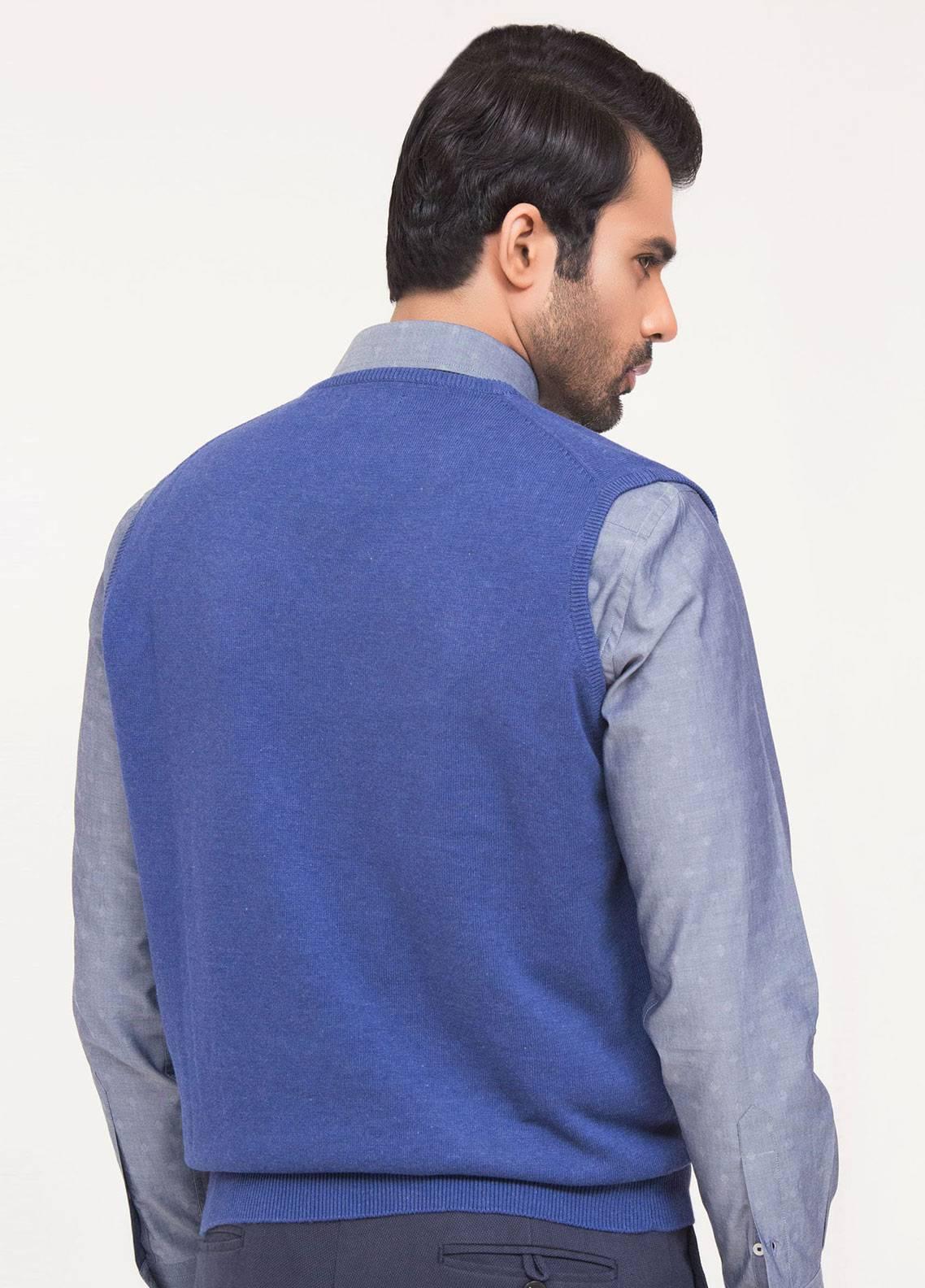 Brumano Cotton Sleeveless V-Neck Sweaters for Men - Blue SL-320
