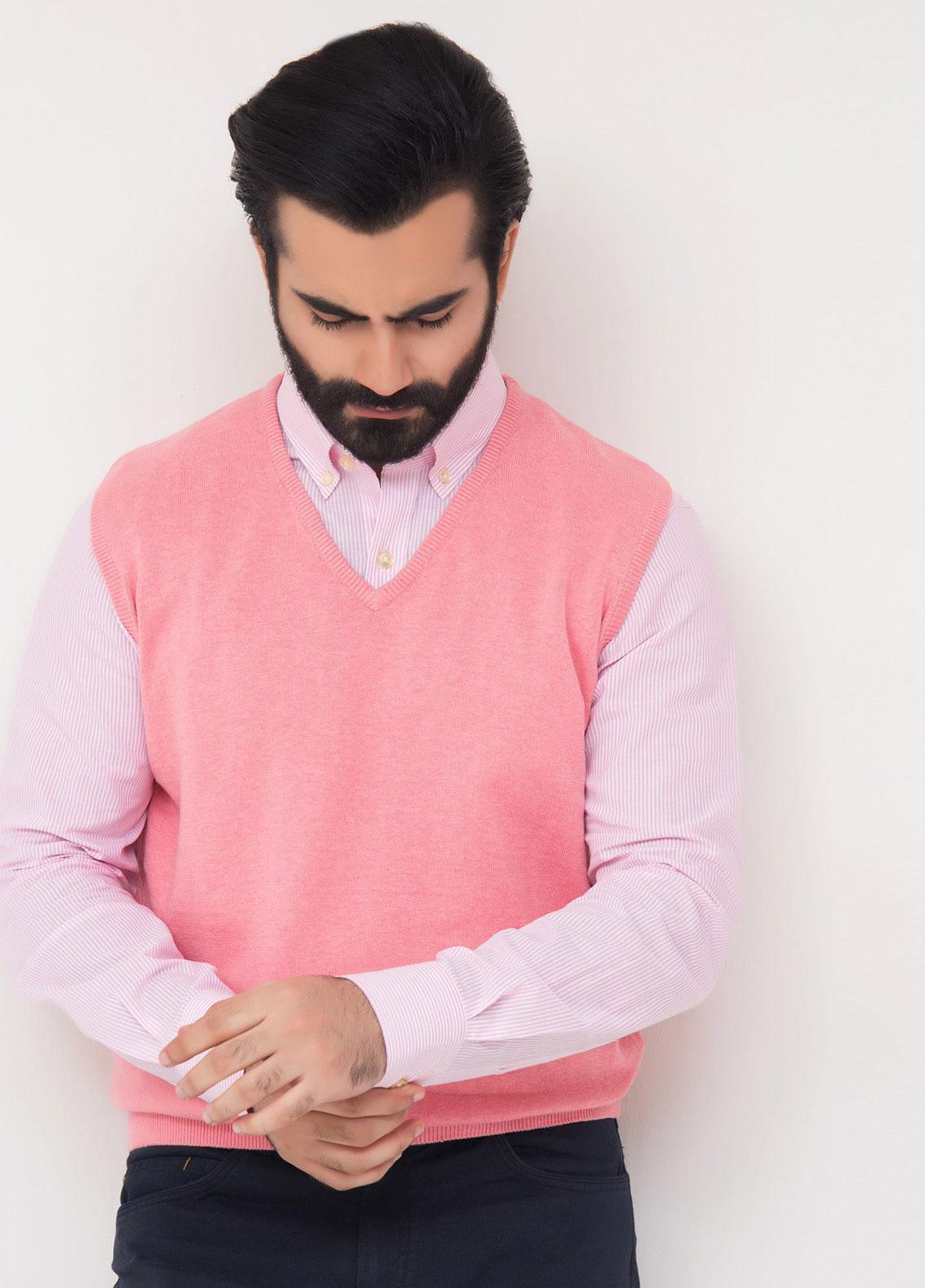 Brumano Cotton Sleeveless V-Neck Sweaters for Men - Pink SL-550