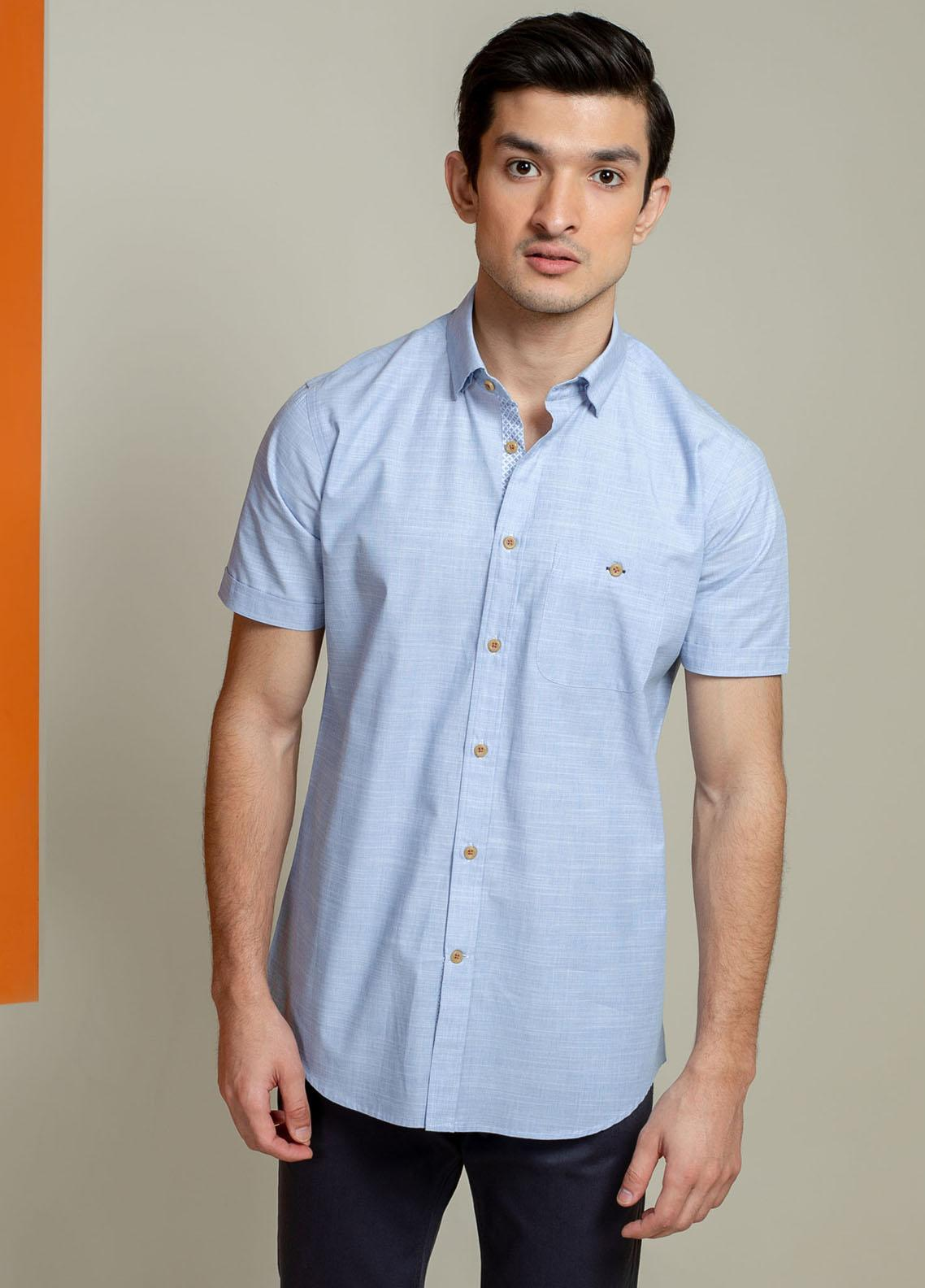 Brumano Cotton Half Sleeves Casual Men Shirts -  BM21SH Blue Slub Textured Blue