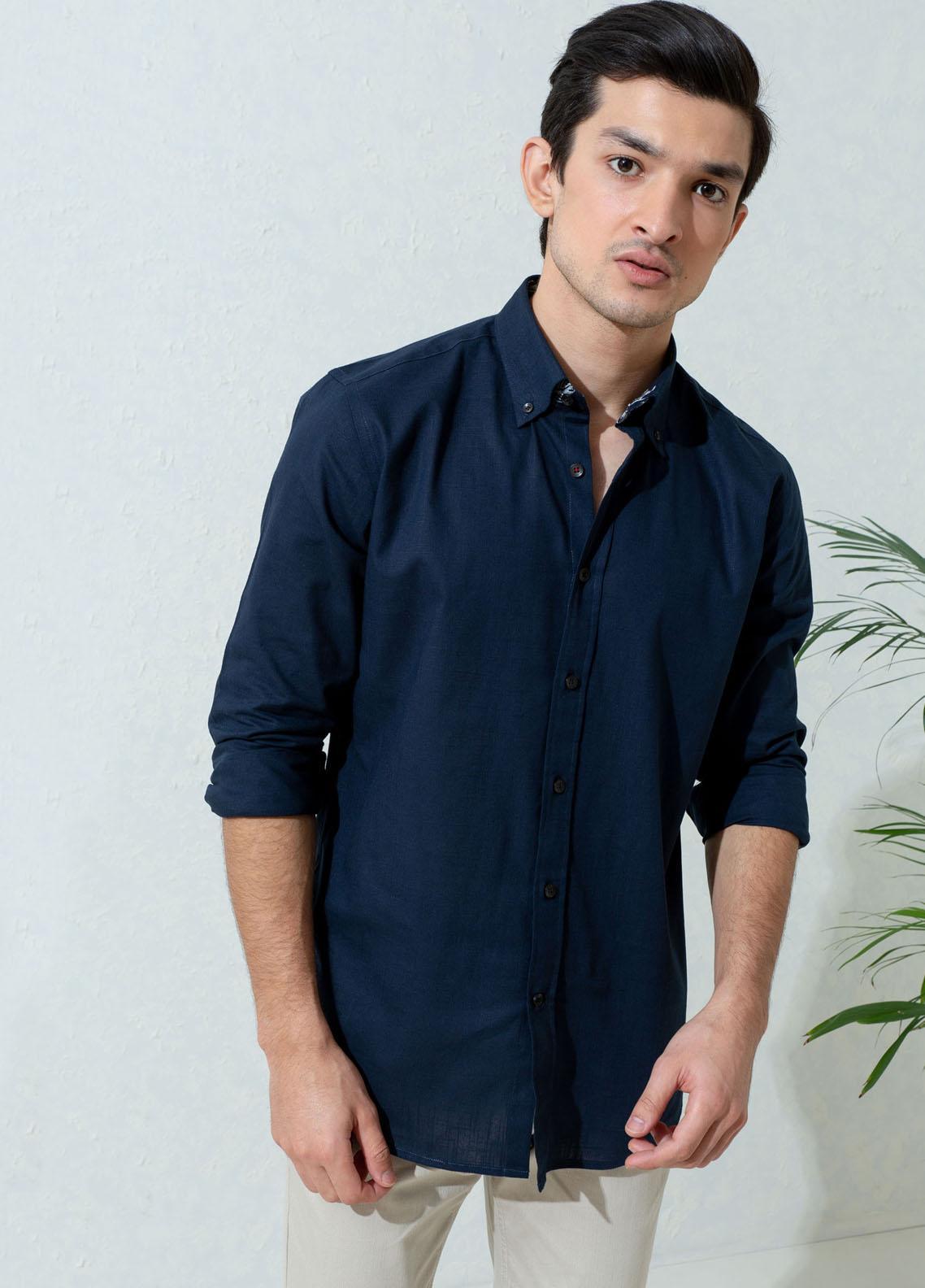 Brumano Cotton Full Sleeves Casual Shirts for Men -  BM21SH Navy Blue Slub Textured