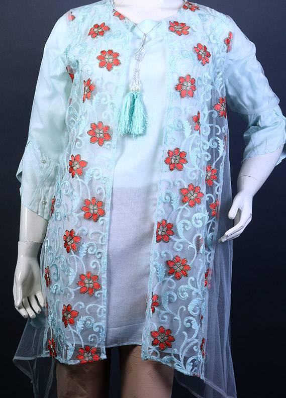 Change Embroidered Cotton Net Stitched Kurtis IBL 170722