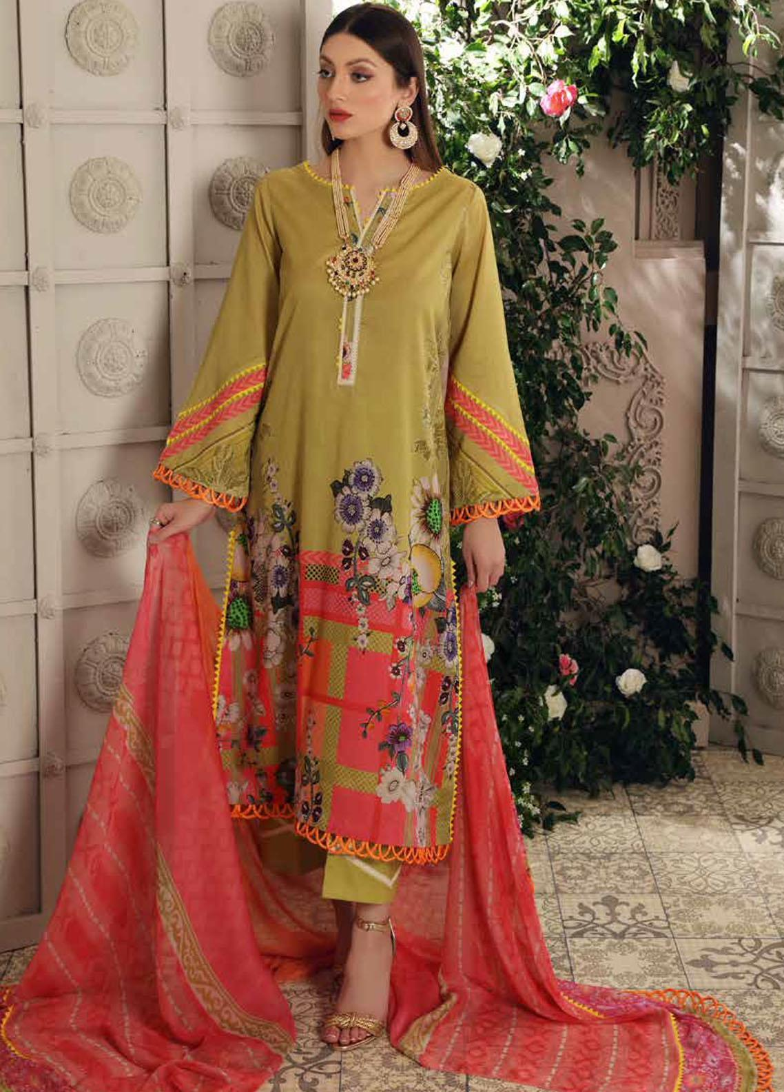 Charizma Printed Lawn Suits Unstitched 3 Piece CRZ21CP-5 CP-56 - Summer Collection