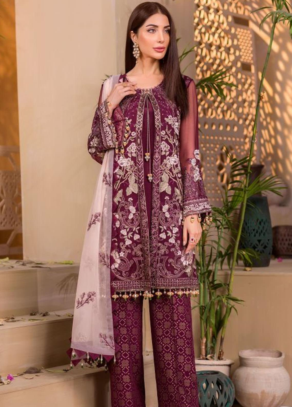 Chashme Baddoor by Flossie Embroidered Chiffon Unstitched 3 Piece Suit FL20CB 606 Amaryllis - Luxury Formal Collection