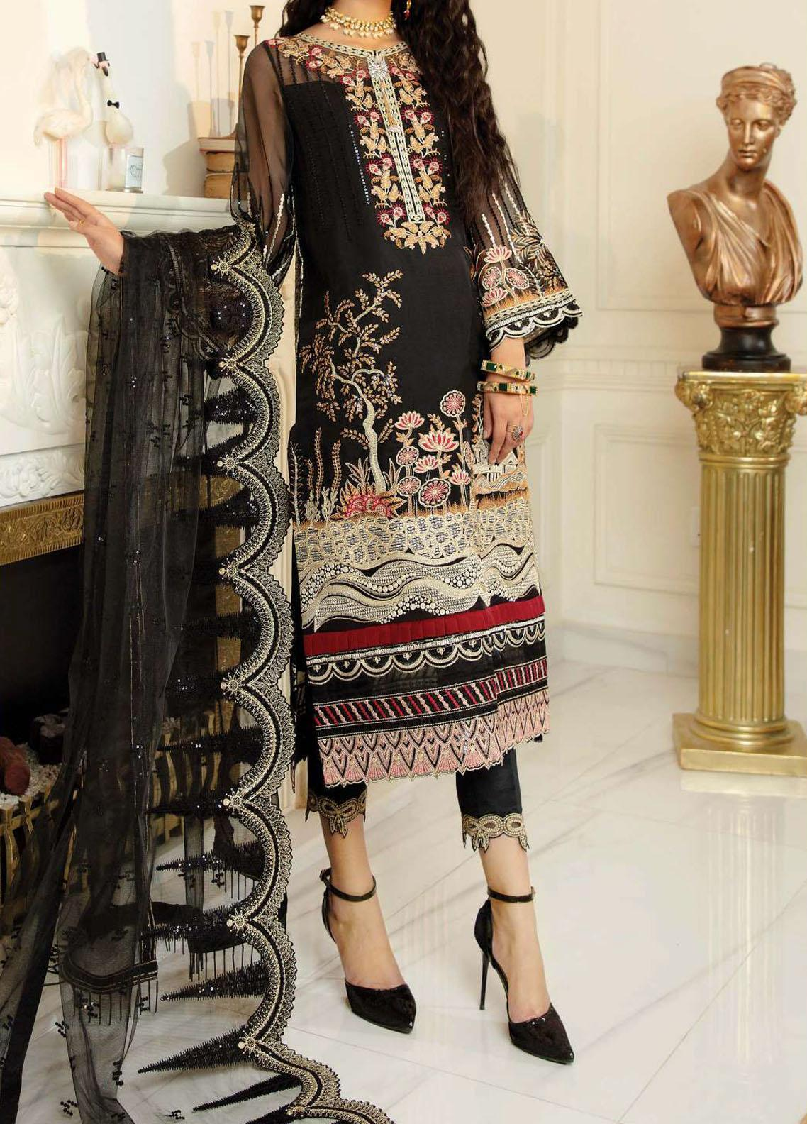 Chimere by Serene Embroidered Organza Unstitched 3 Piece Suit SP21C 1021 Midnight Light - Premium Collection