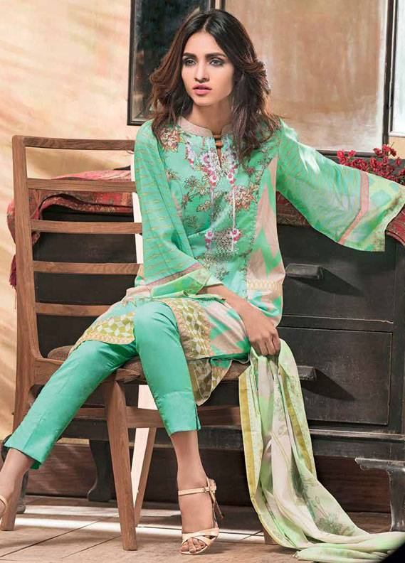 Gul Ahmed Embroidered Lawn Unstitched 3 Piece Suit GA18L CL-261A - Essential Collection