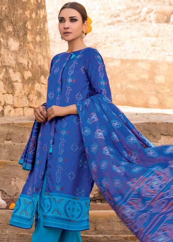 Gul Ahmed Printed Lawn Unstitched 3 Piece Suit GA18L CL-295A - Essential Collection